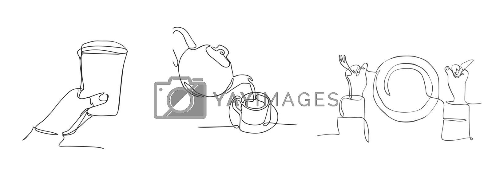 Vector hand drawn set of graphic illustration with Continuous line drawing fork, plate, knife, Plastic cup and Tea pot and tea cup on a white background.  Simple Icon.