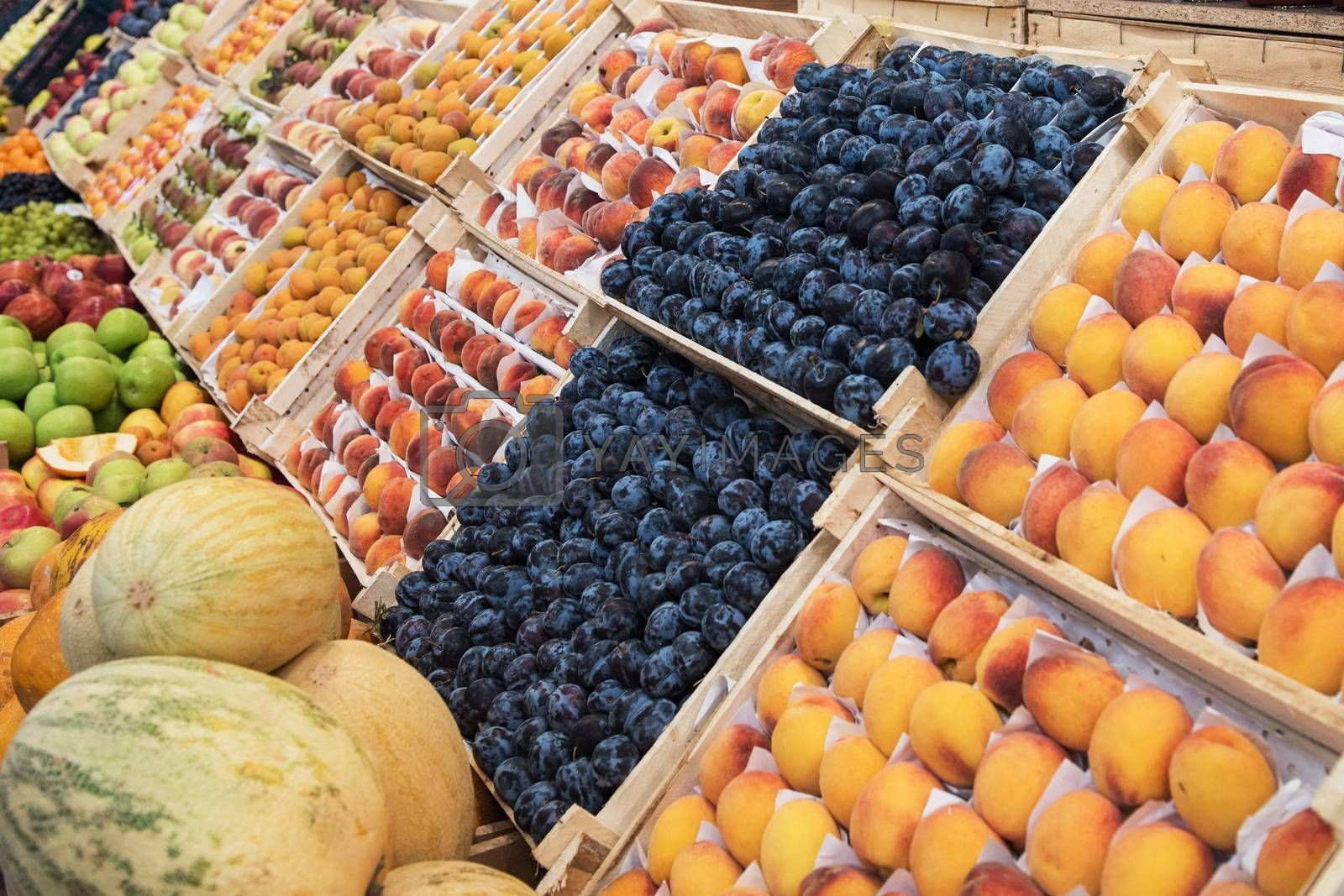 Assortment of fresh organic healthy fruits at the market