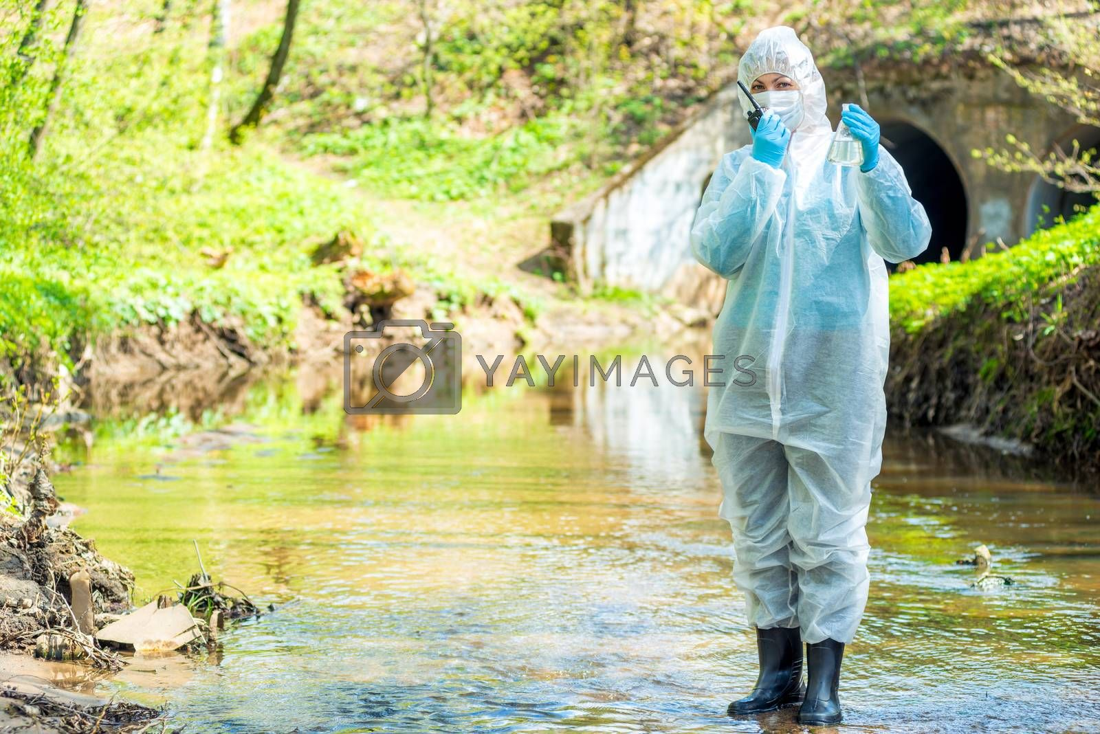 concept photo ecological disaster, the work of the ecologist researcher