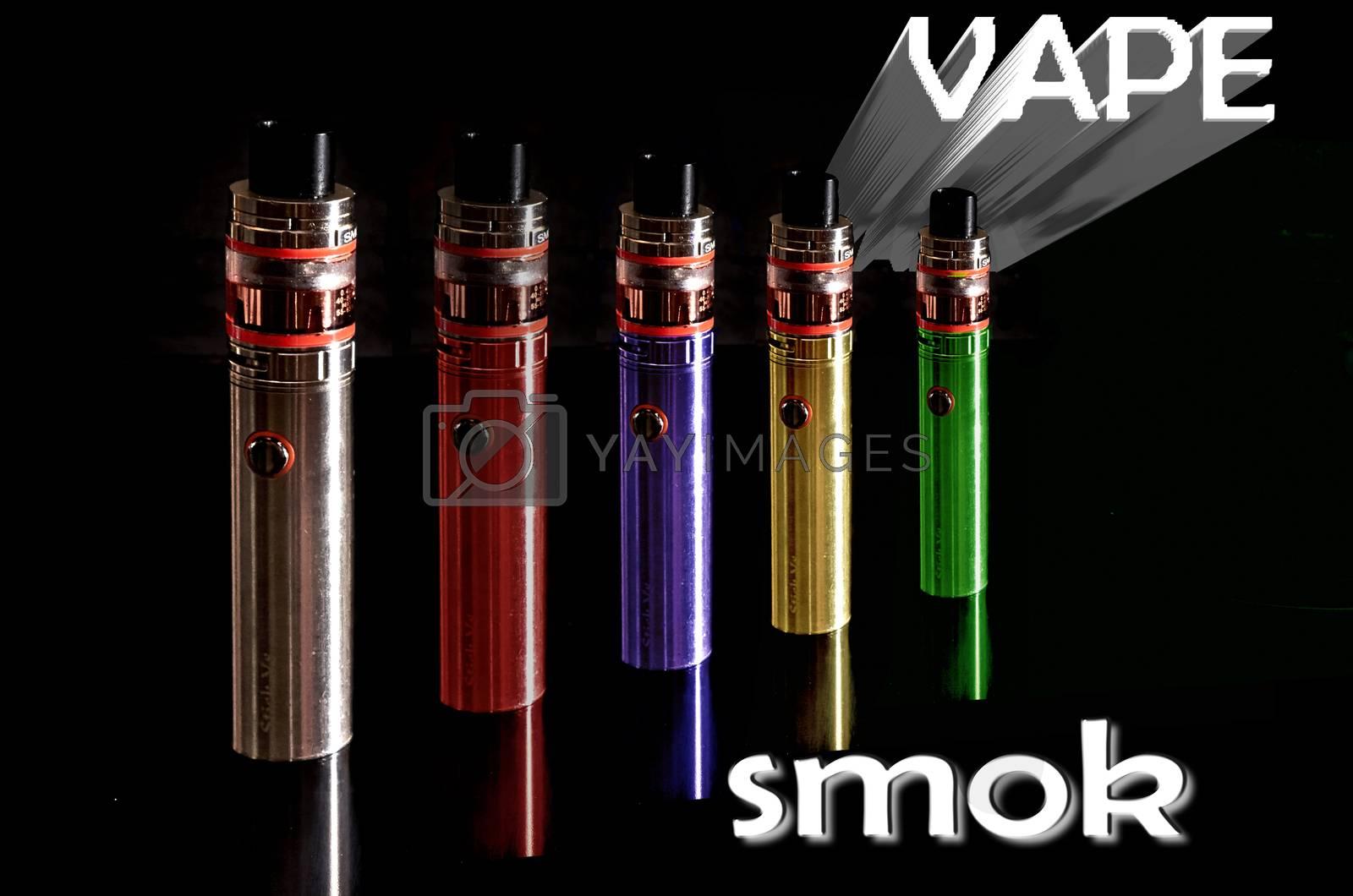 Vaper of colors smoke reflexions