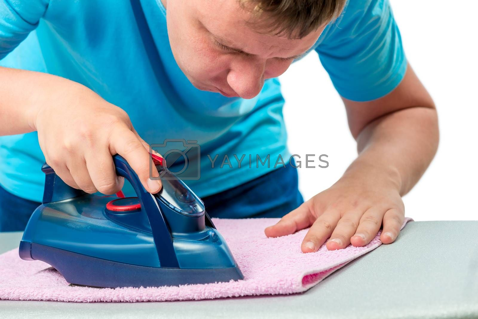 centered man ironed towel, portrait isolated