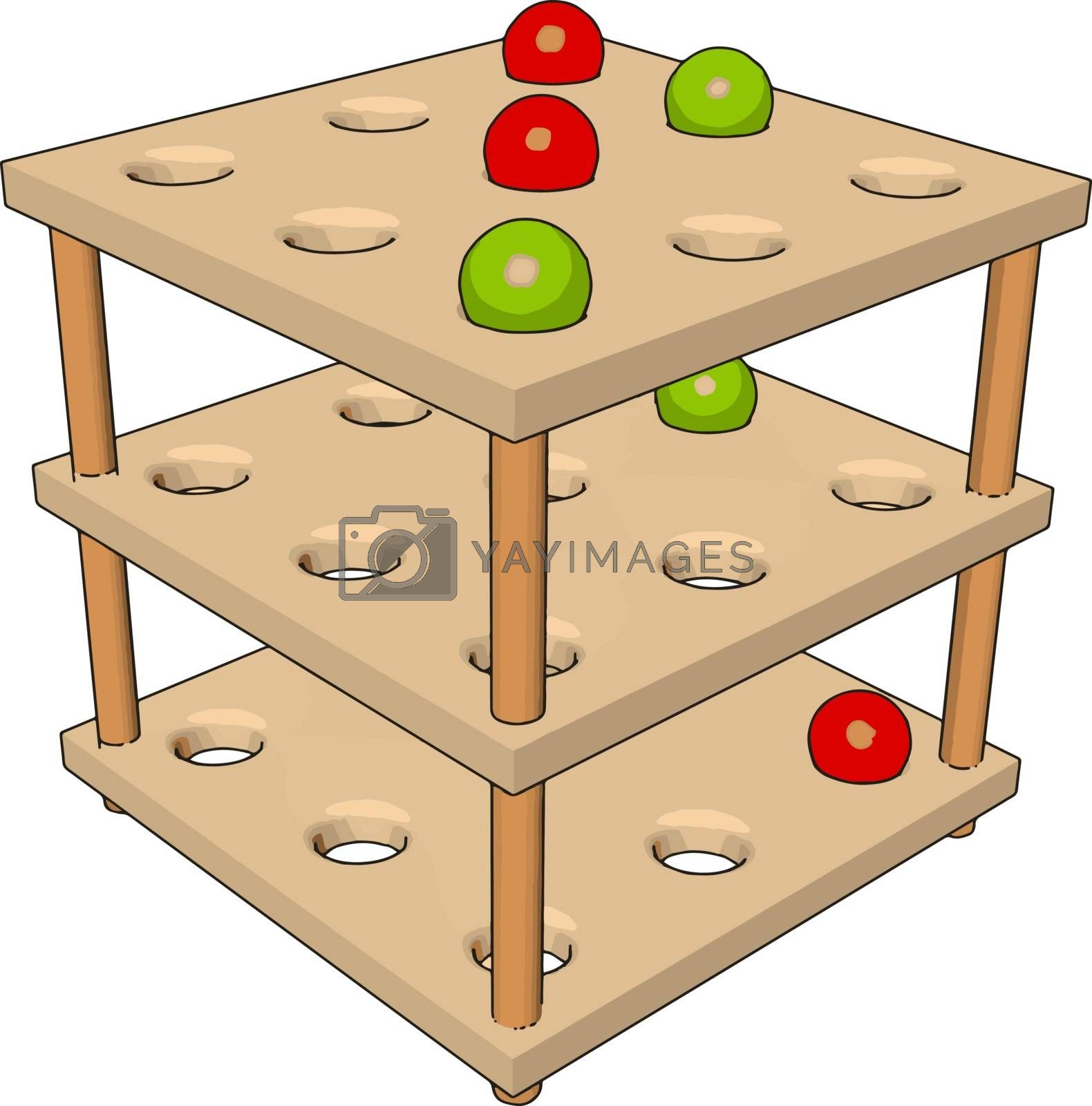 Toddlers wood discovery table, illustration, vector on white background.