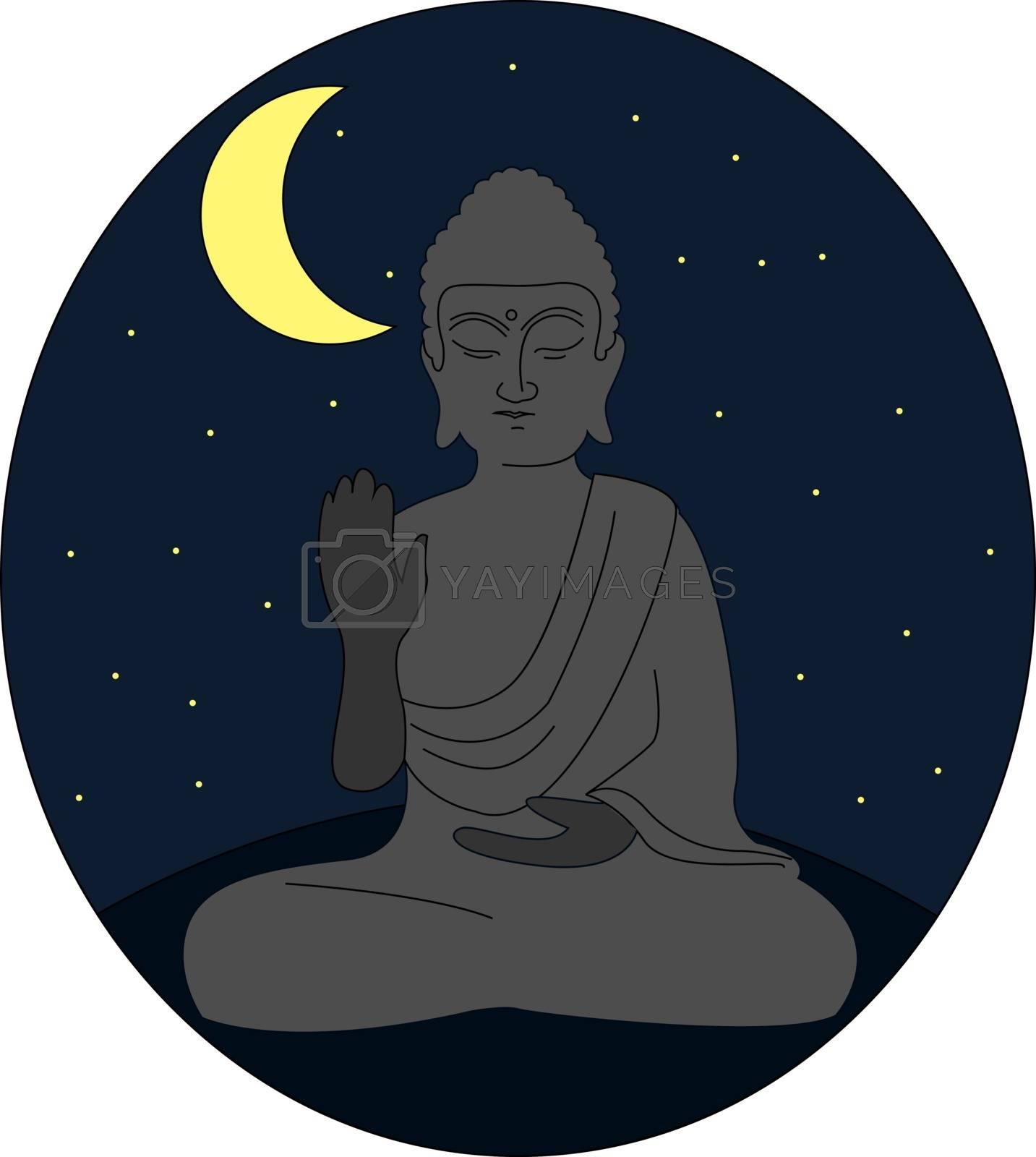 Statue of buddha, illustration, vector on white background.