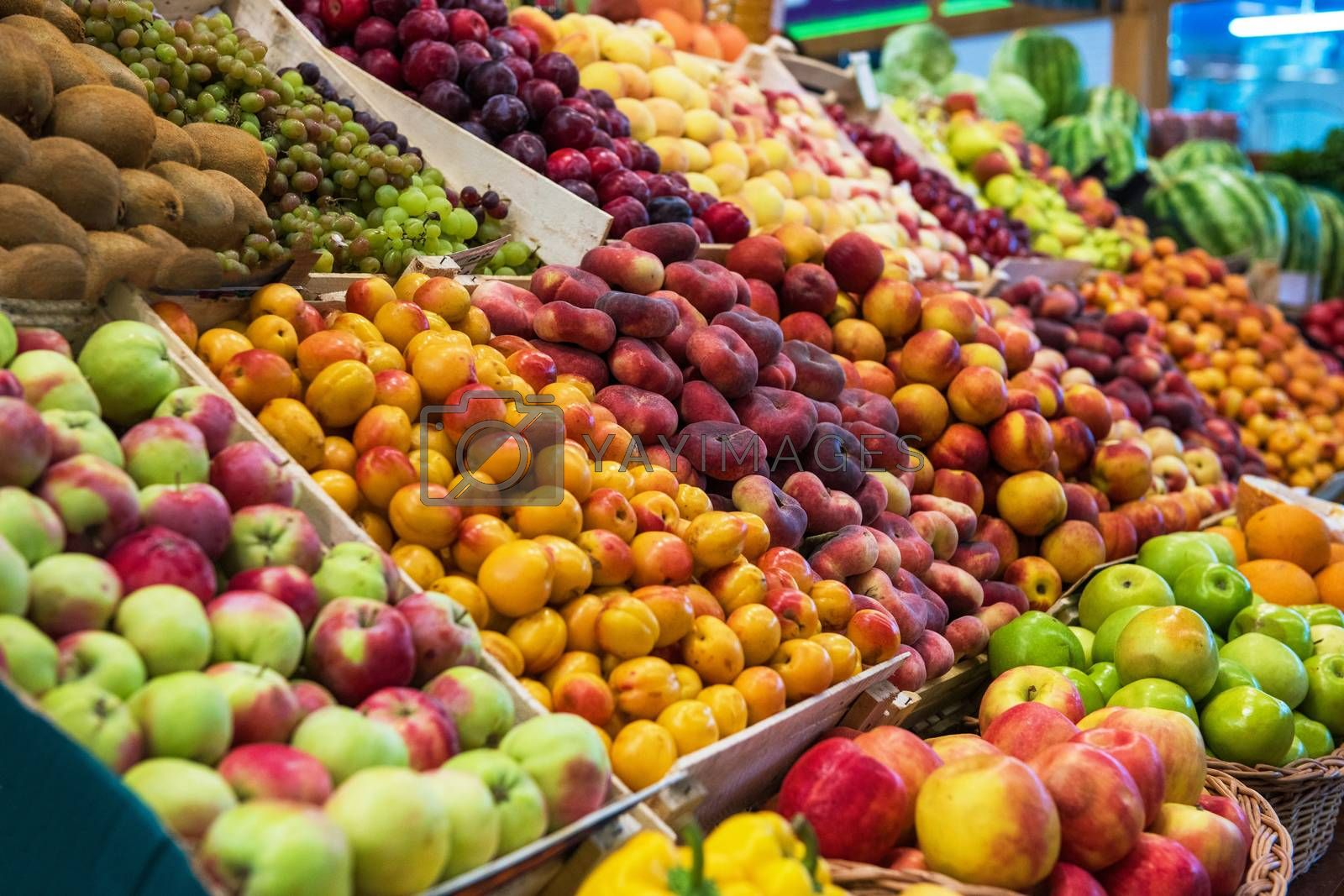 Assortment of fresh fruits at the market