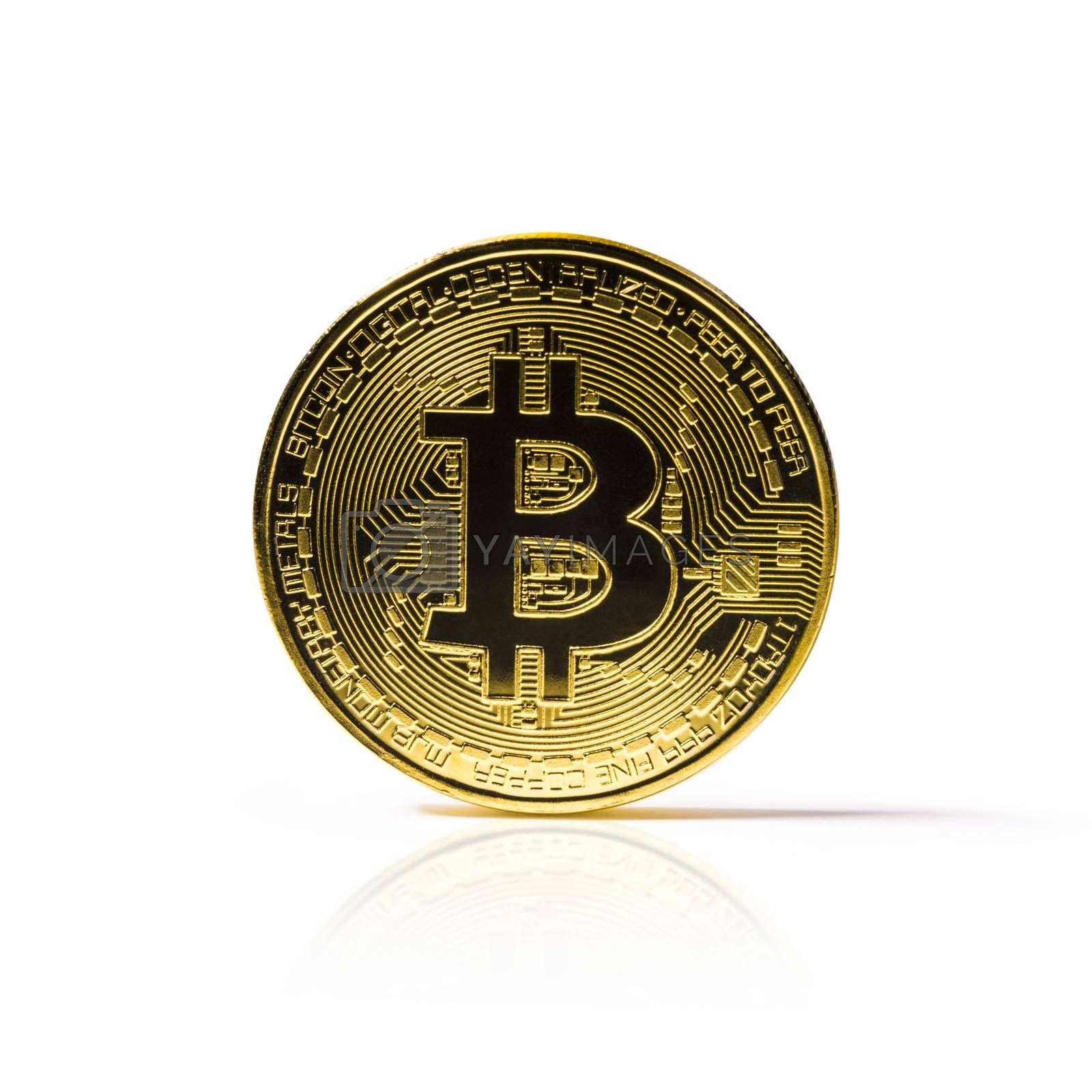 Golden Bitcoin coin on white background. Cryptocurrency. by butenkow