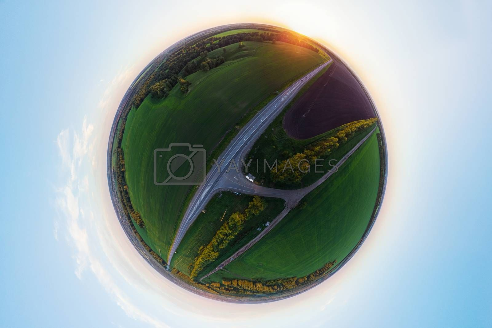 Planet spherical panorama 360 of summer roads in Altai. Aerial drone picture.