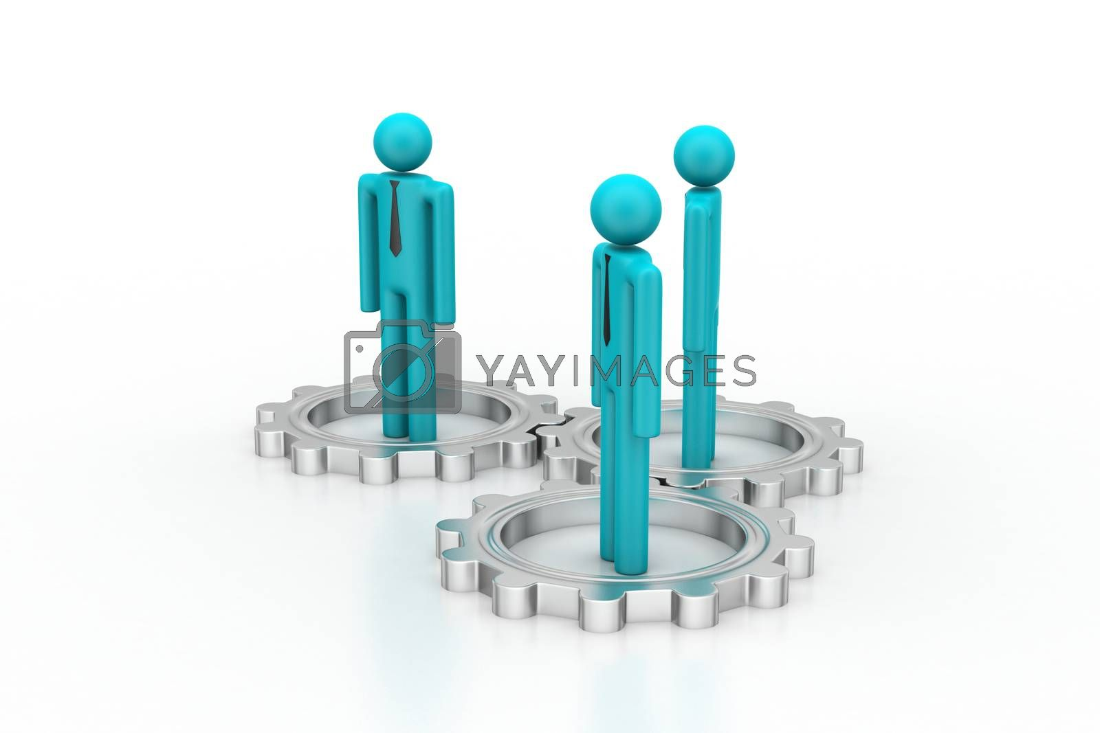 3d people standing the gear wheel