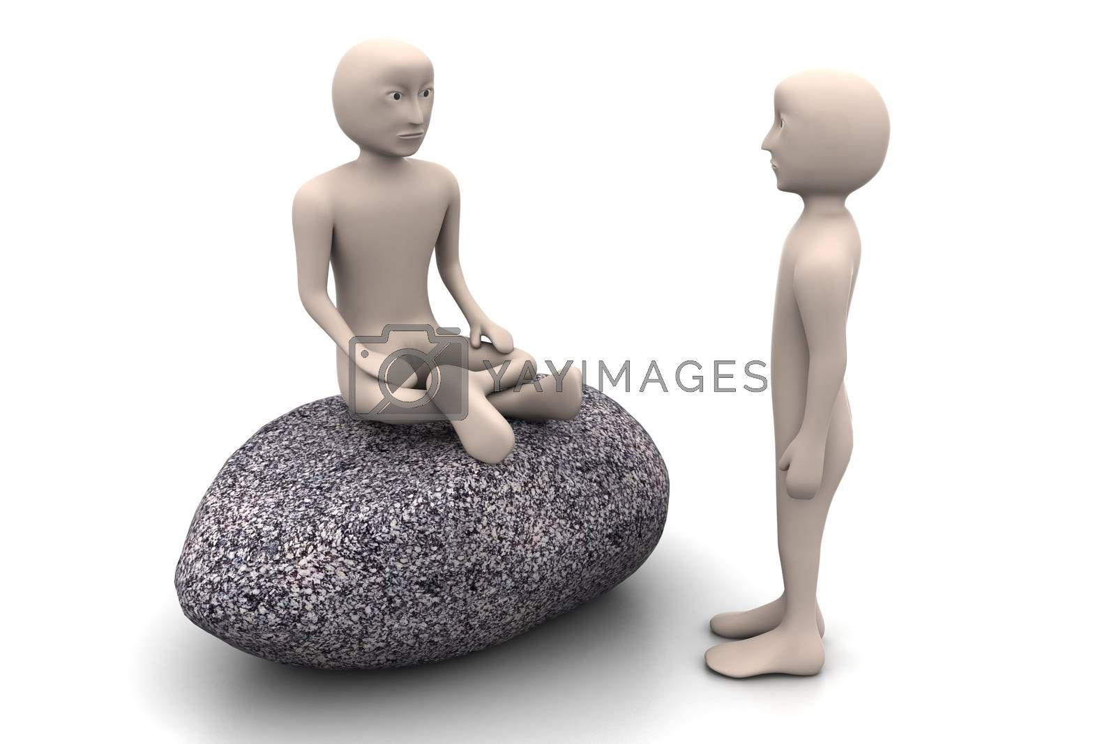 3d people in meditation   by rbhavana