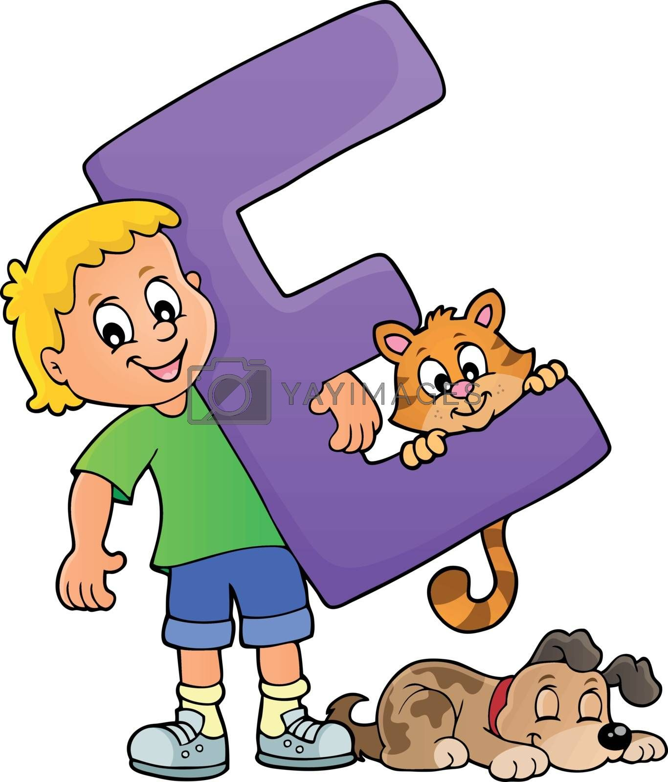 Boy and pets with letter E by clairev