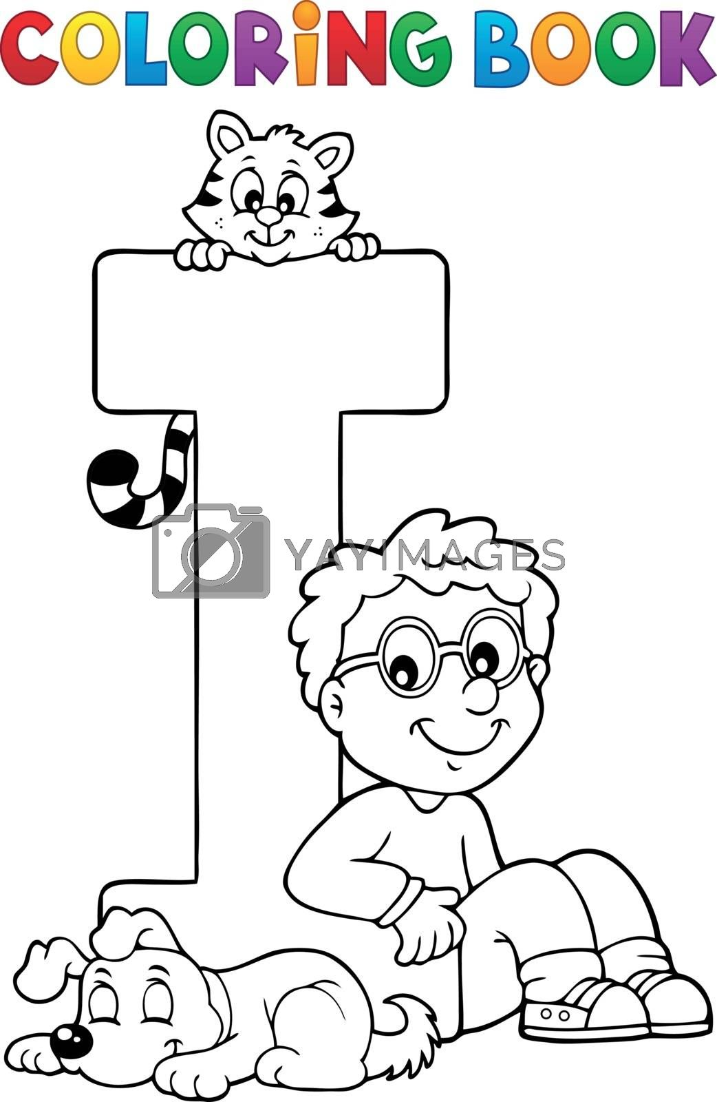 Coloring book boy and pets by letter I - eps10 vector illustration.