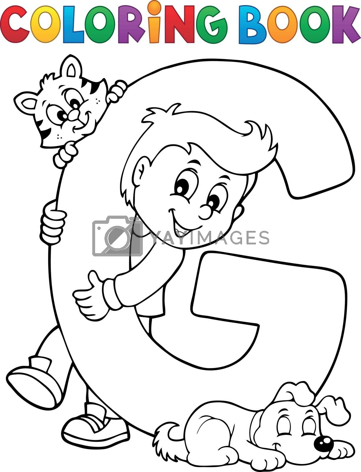 Coloring book boy and pets by letter G - eps10 vector illustration.