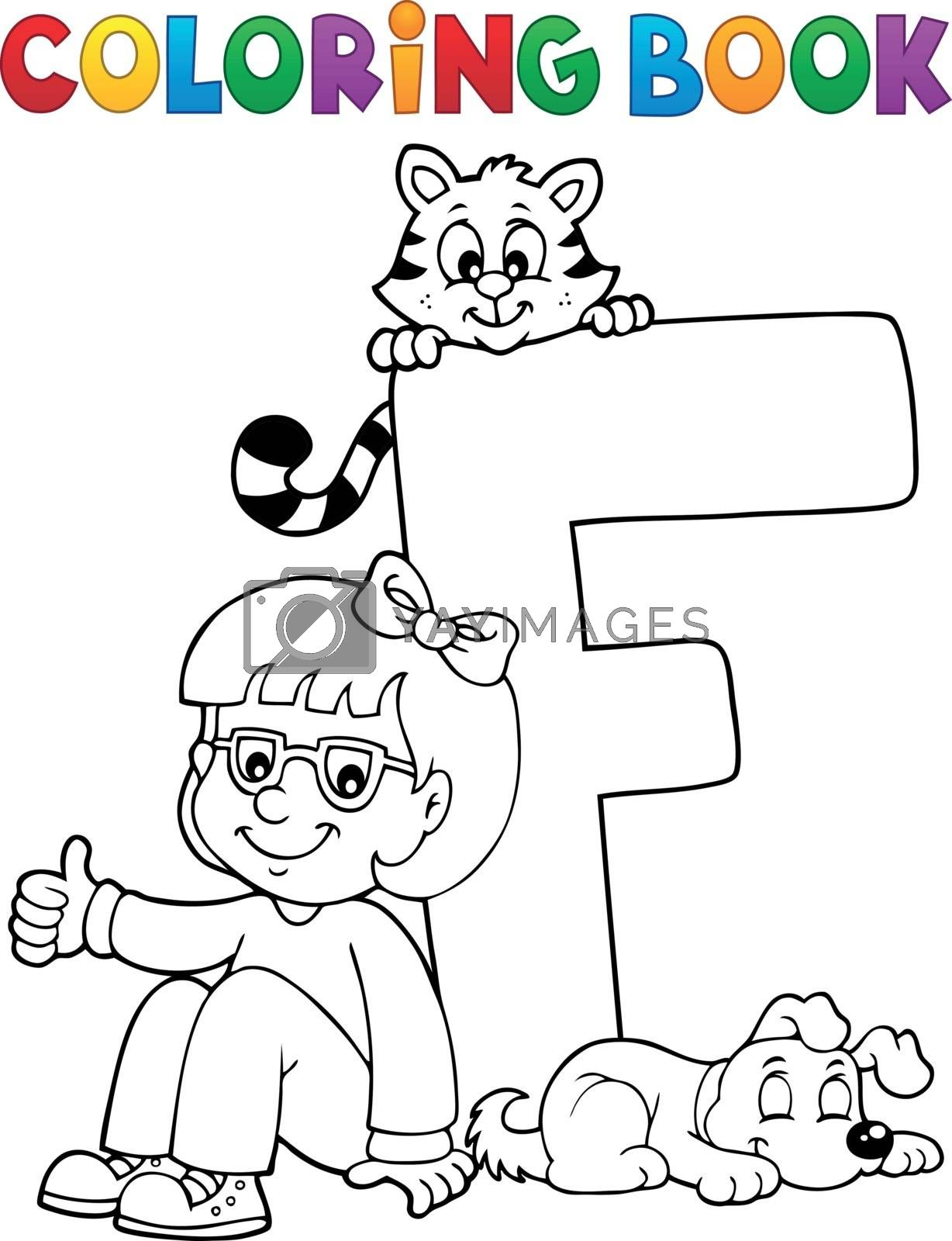 Coloring book girl and pets by letter F - eps10 vector illustration.