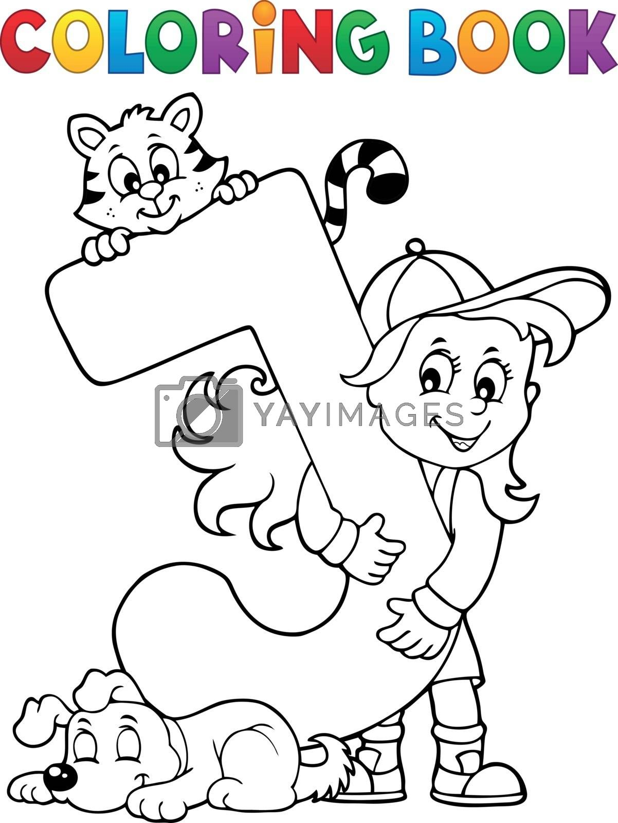 Coloring book girl and pets by letter J - eps10 vector illustration.