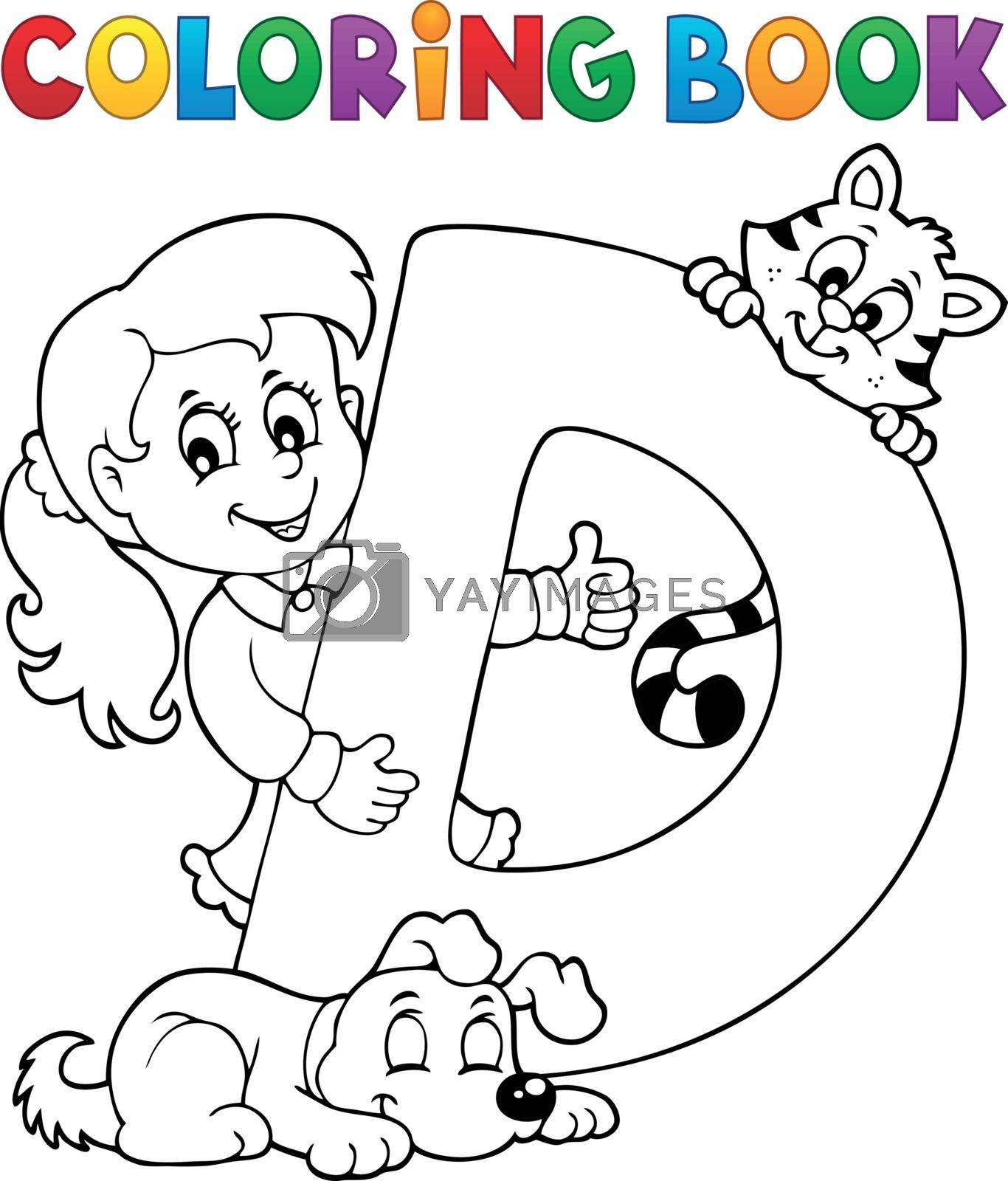 Coloring book girl and pets by letter D - eps10 vector illustration.