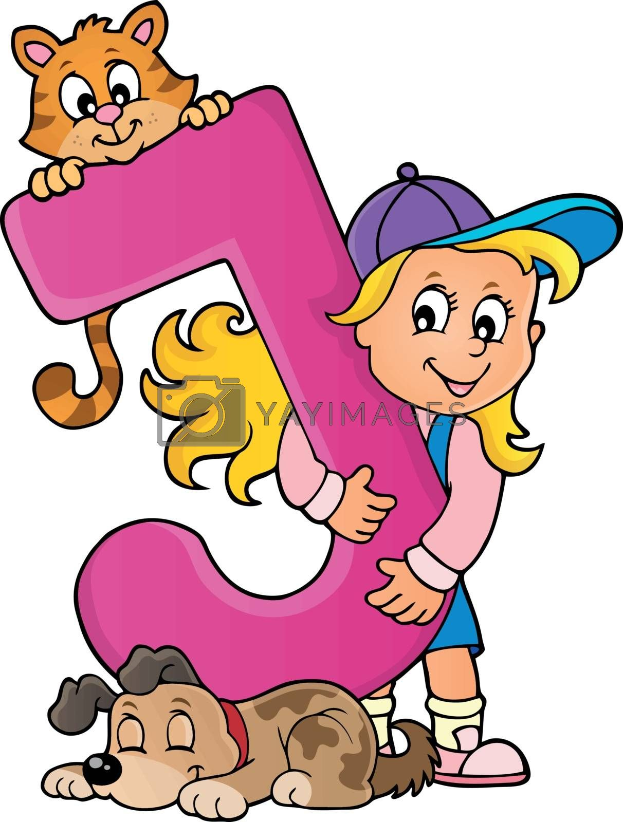 Girl and pets with letter J - eps10 vector illustration.
