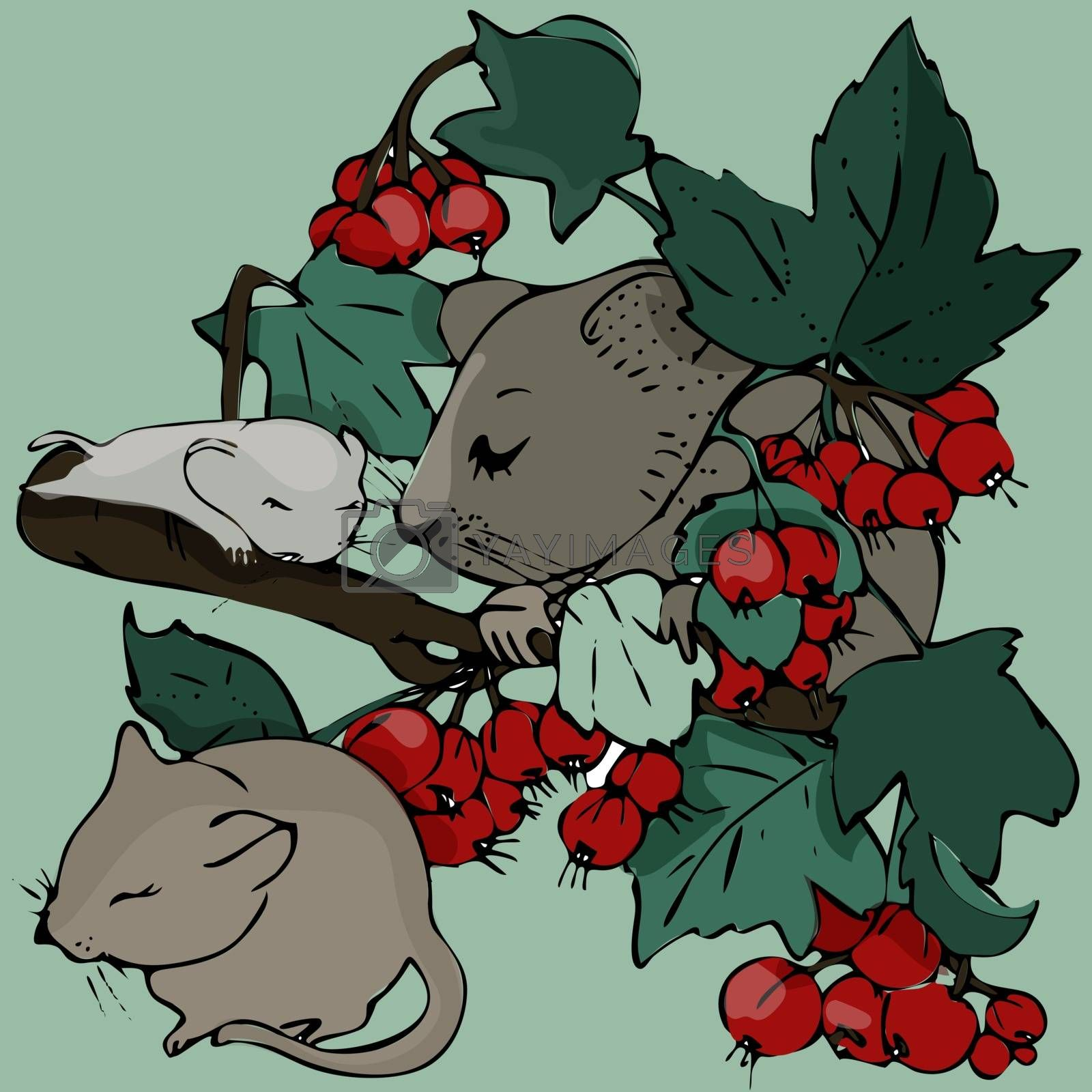click on the currant Bush,the Mama mouse and two babies are among the twigs and berries,sleeping and basking in the sun.hand-drawn.