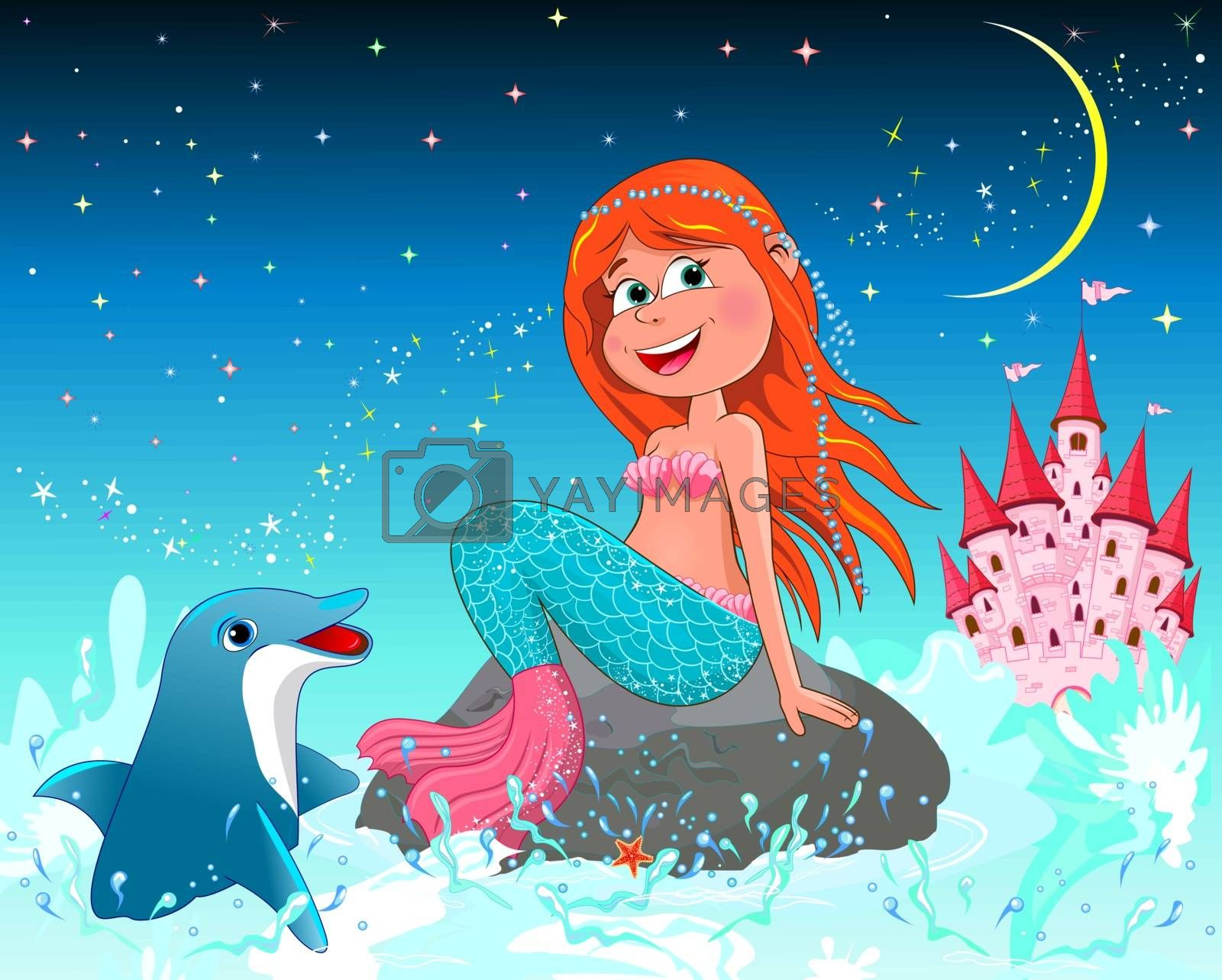 A beautiful mermaid sits on a sea stone. Mermaid and dolphin on a background of a night starry sky. Pink princess castle.