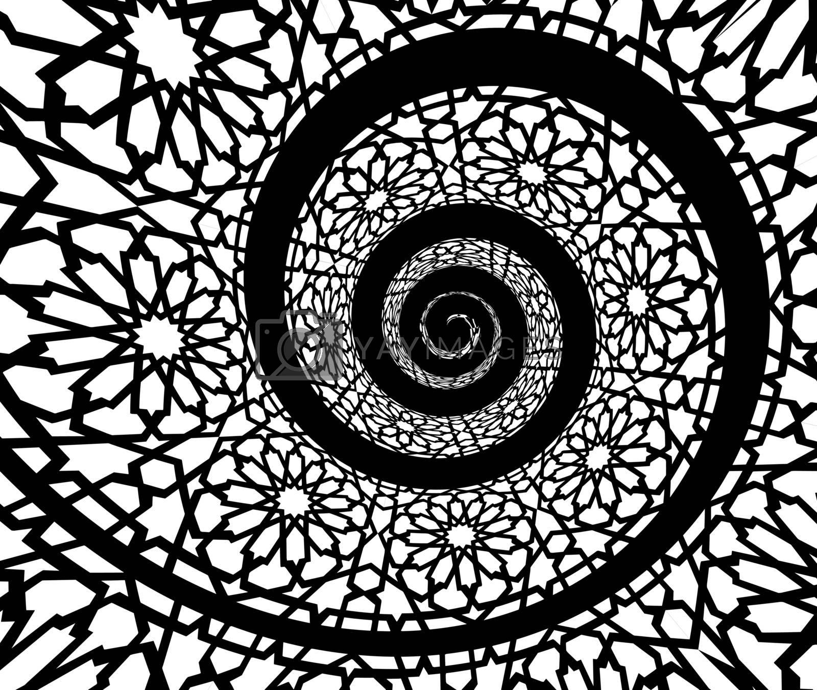 Islamic pattern, swirled in 3d spiral shape. Vector illustration