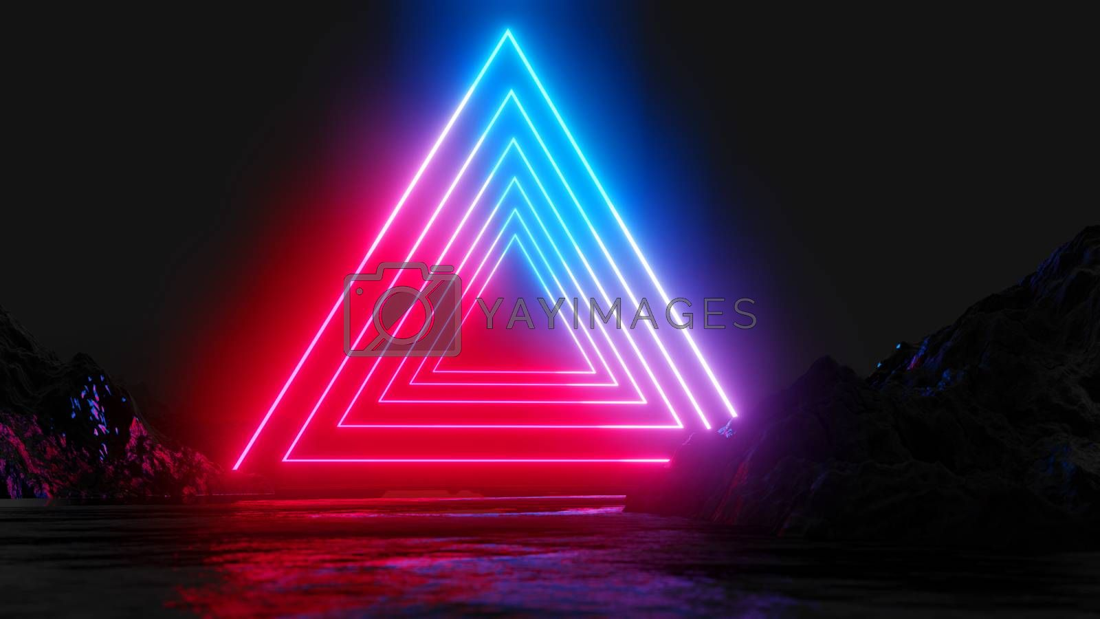 Glowing Neon Triangles On Dark Background Royalty Free Stock Image Stock Photos Royalty Free Images Vectors Footage Yayimages