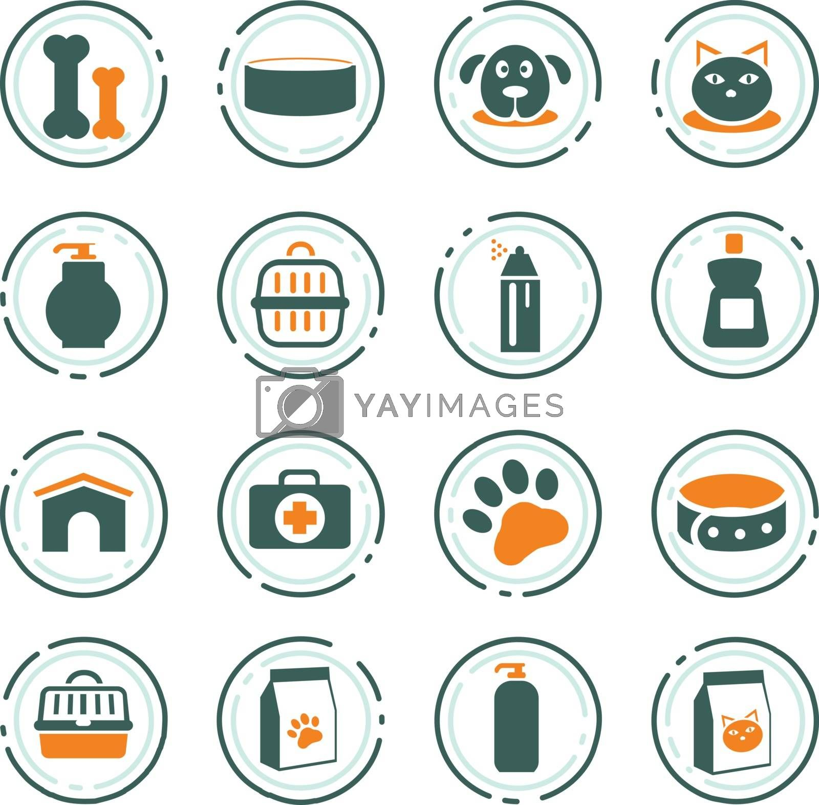 Goods for pets color vector icons for user interface design