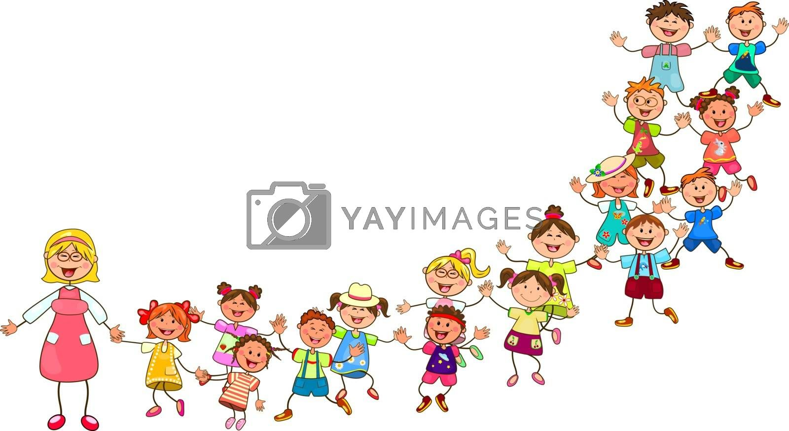 Joyful little kids and a teacher. A group of children with a teacher on a walk. Group of cheerful, smiling children on a white background.