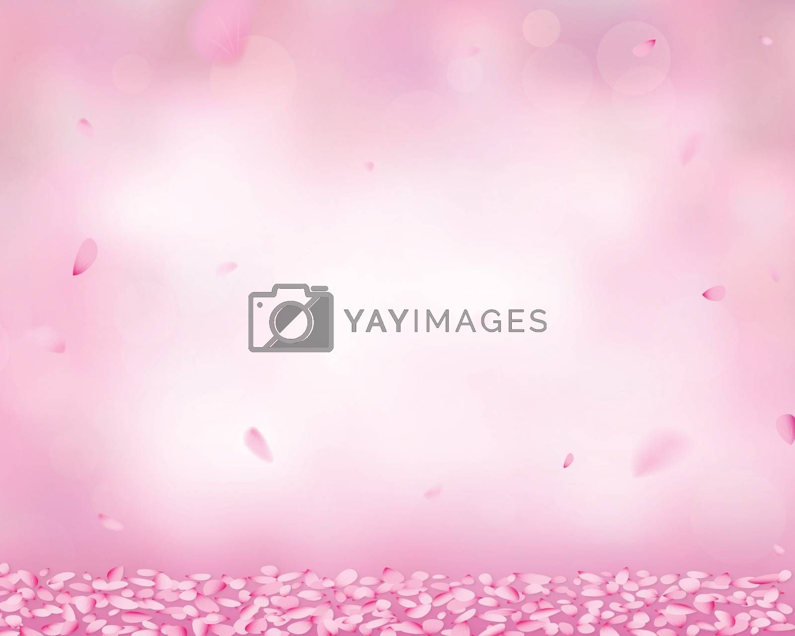 Pink spa and cosmetology design concept. Falling petals on the ground, in the background bokeh and color gradient effect.