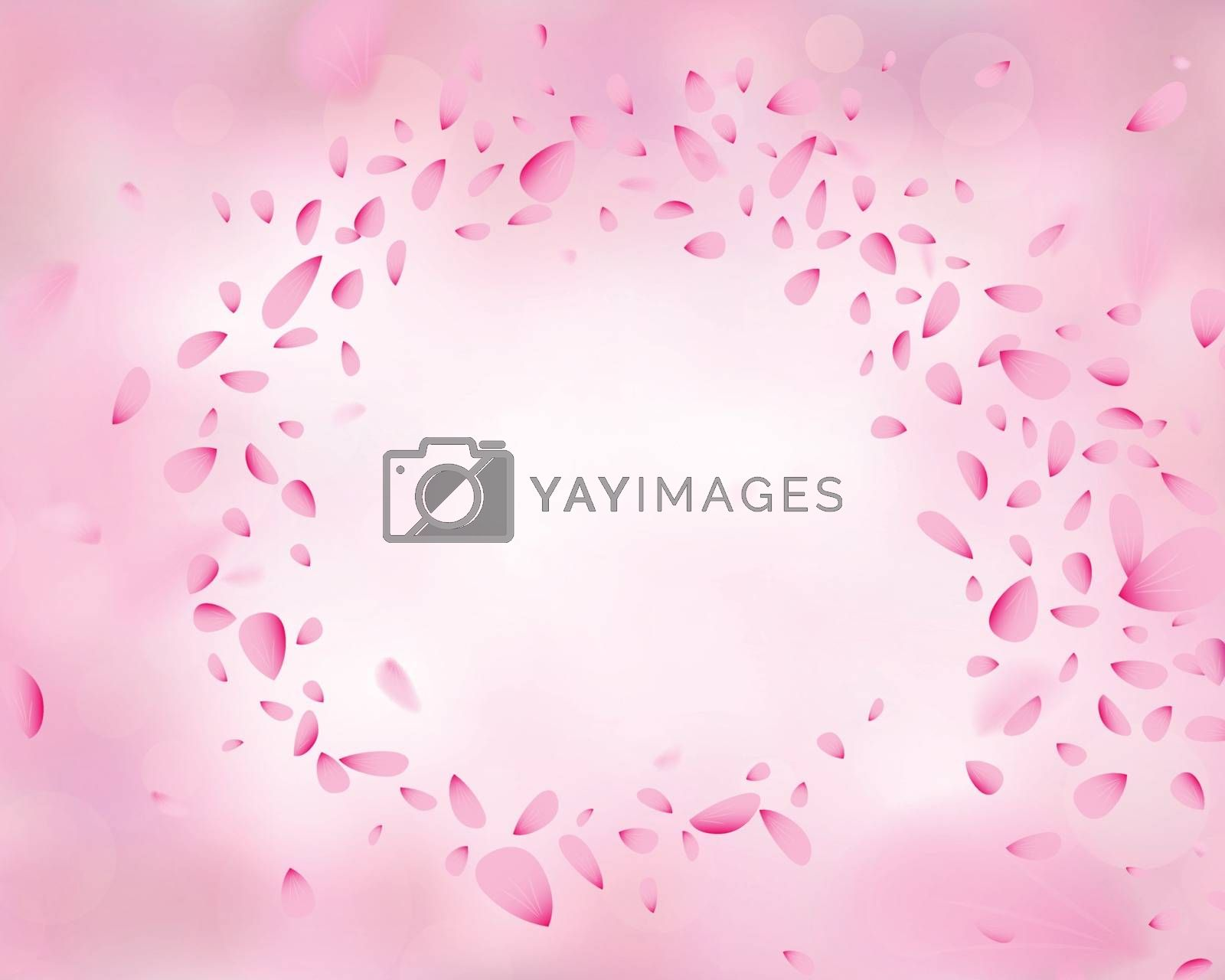 Swirling pink flower petals in the wind. Soft elegant 3D illustration background with bokeh and blurred effect.