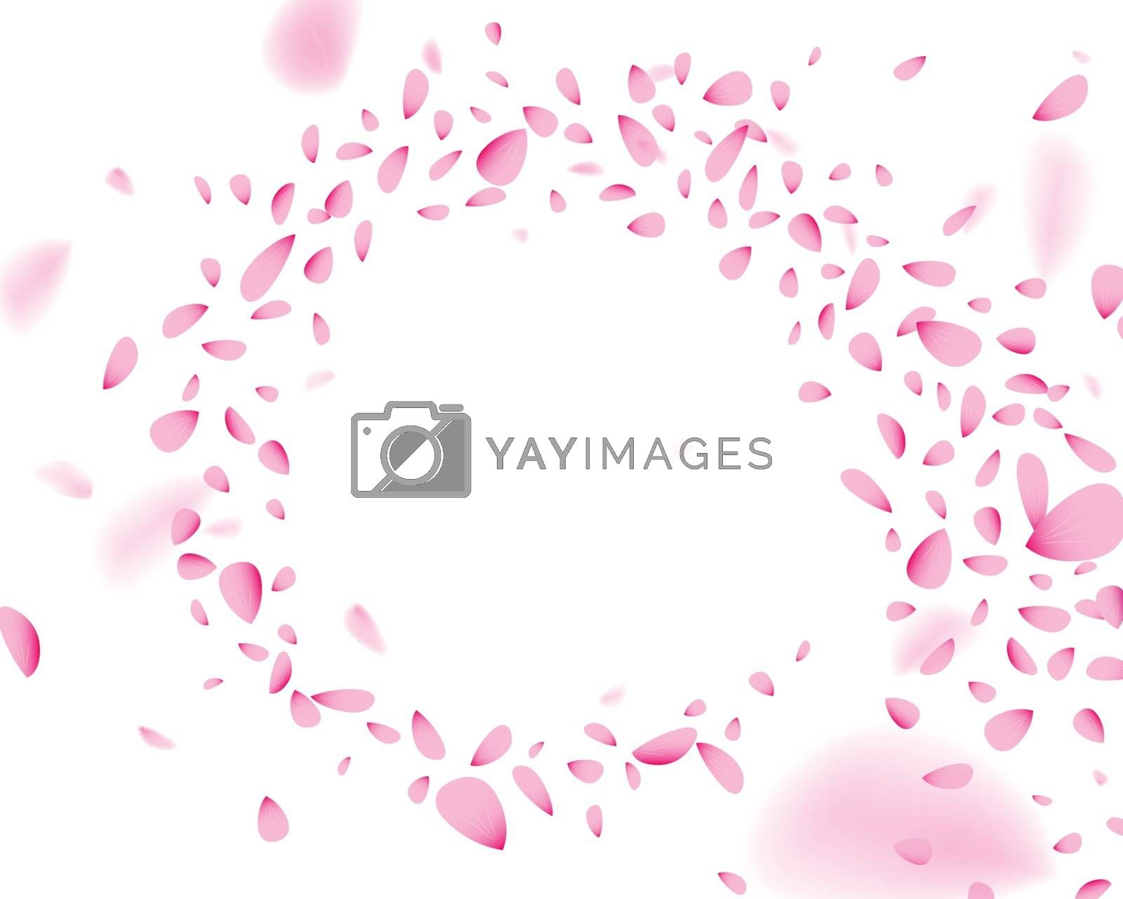 Swirling pink flower petals in the wind, on white isolated background. Soft elegant decoration element with blurred effect, 3D illustration.
