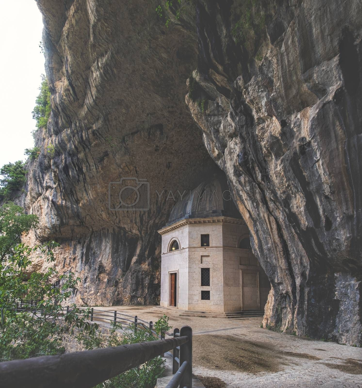 church inside cave - Italy - Marche - Valadier temple church near Frasassi caves in Genga Ancona .