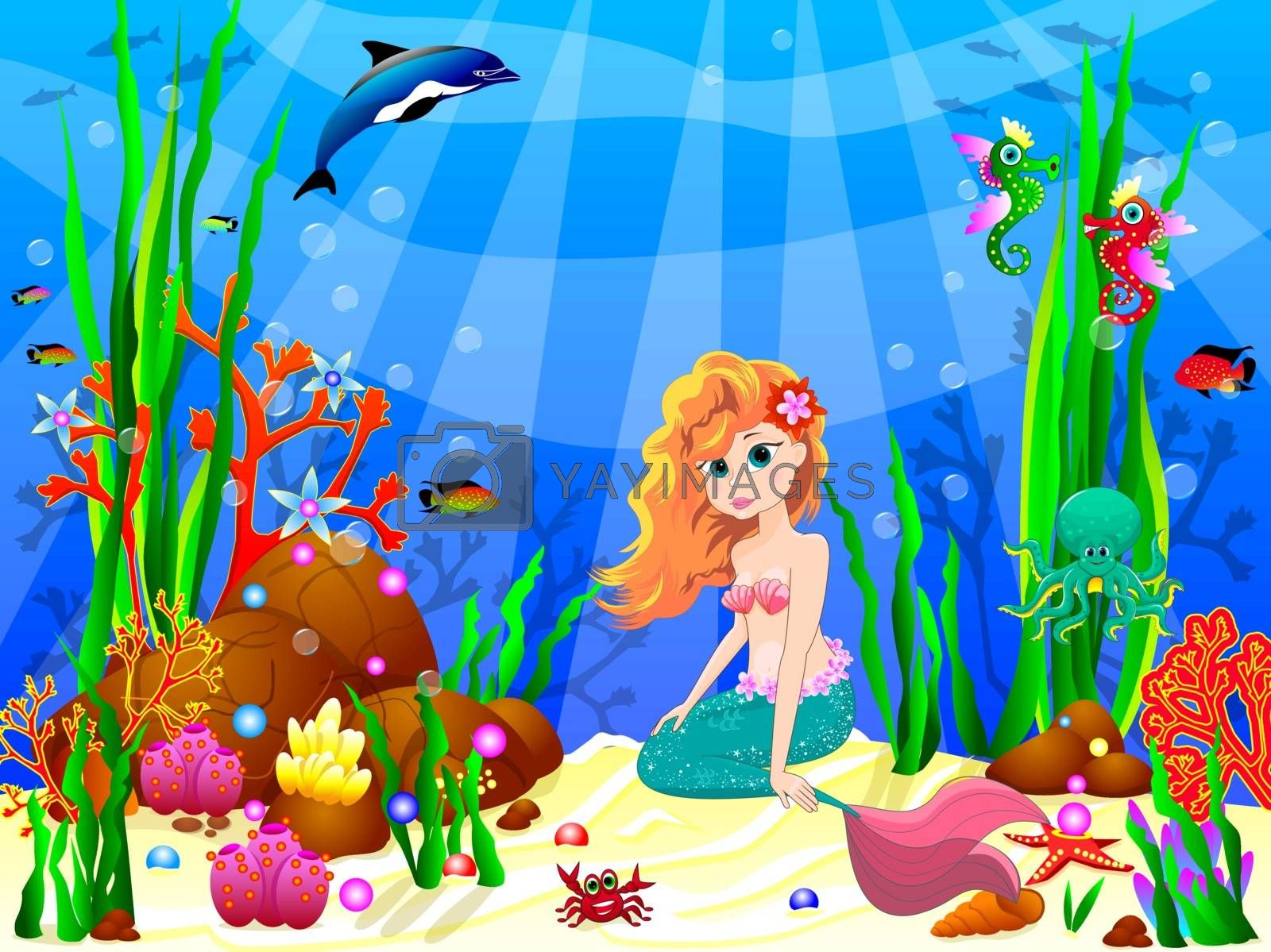 The little mermaid underwater among sea creatures and underwater plants. Cute mermaid sitting on the bottom of the sea.