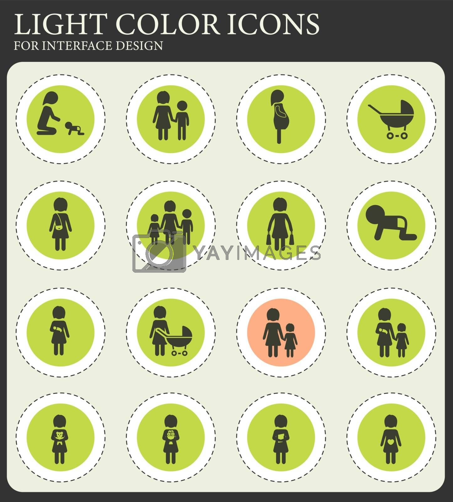 People and family vector icons for web and user interface design