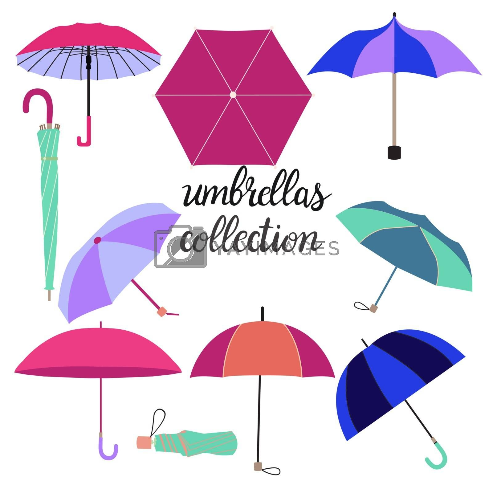 Vector Hand drawn collection of different fashion umbrellas and lettering illustration. Umbrella vector set in different colors isolated on white background.
