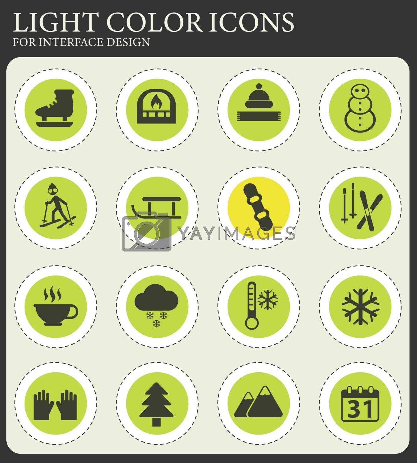 winter vector icons for web and user interface design