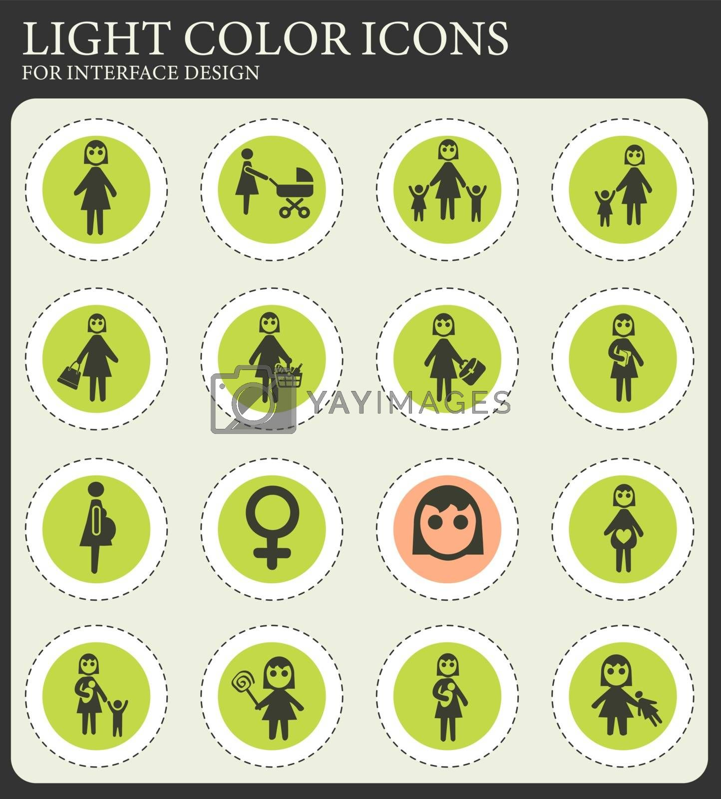 woman web icons for user interface design