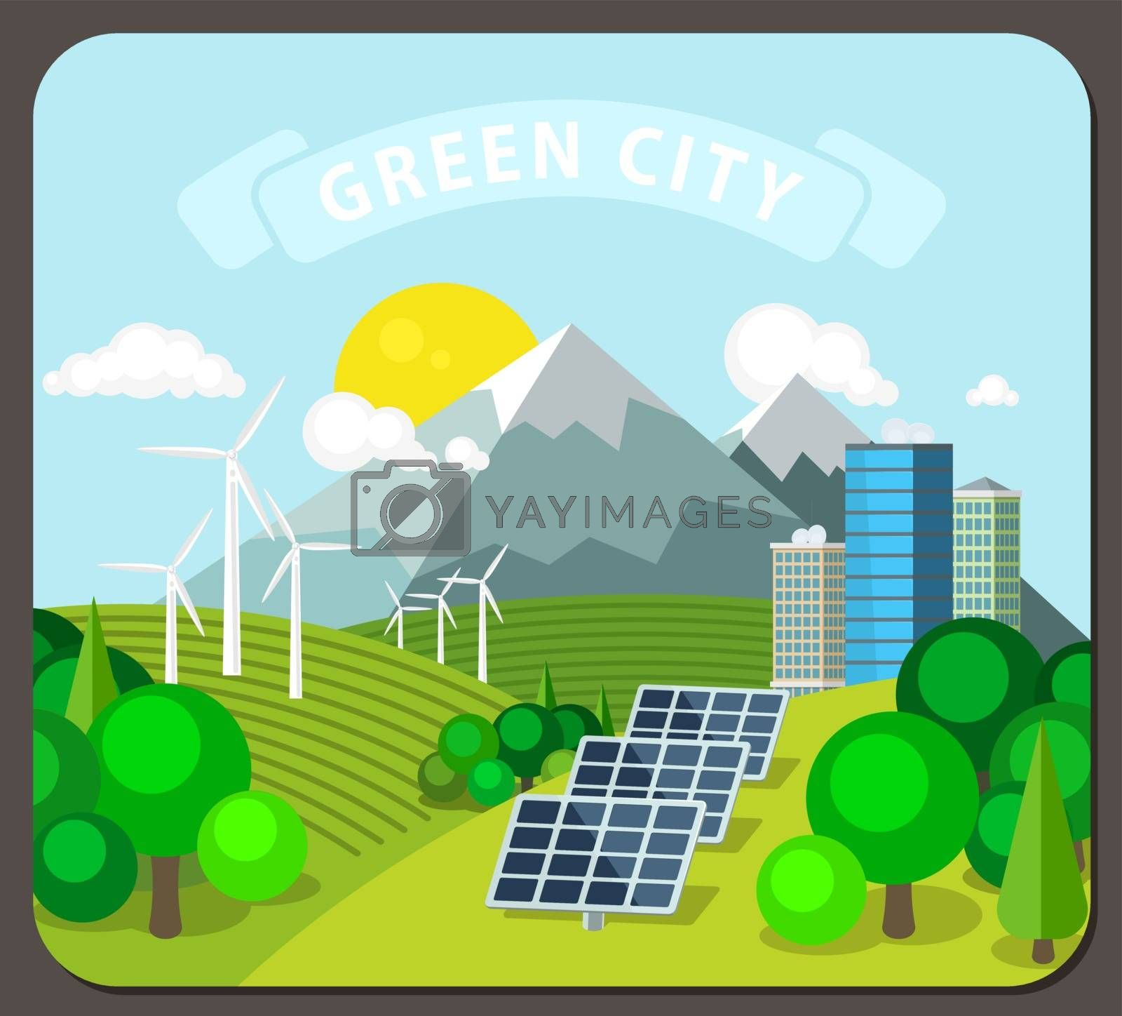 Alternative energy vector illustration. Landscape with solar and wind power stations on the background of mountains, forests and the modern city.