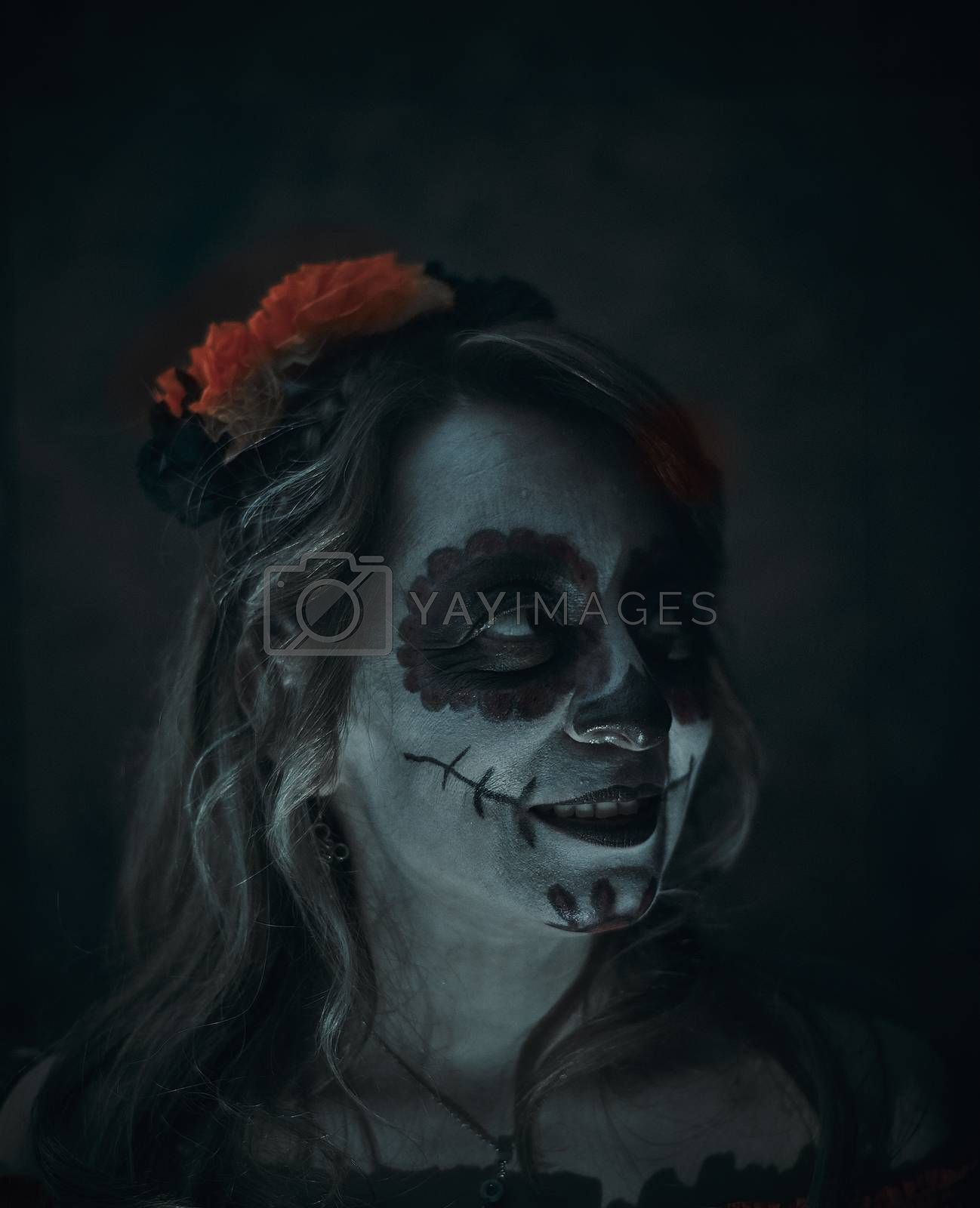 Model make up as a Day of dead celebration