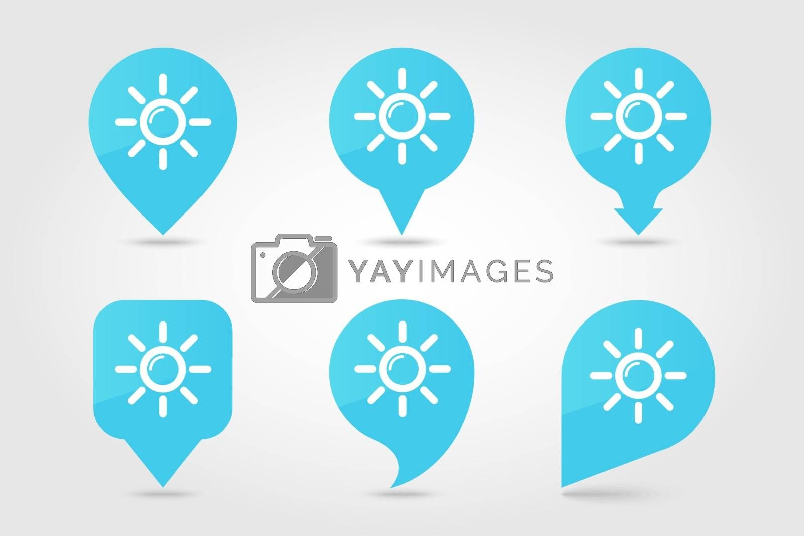 Sun outline pin map icon. Map pointer. Map markers. Meteorology. Weather. Vector illustration eps 10