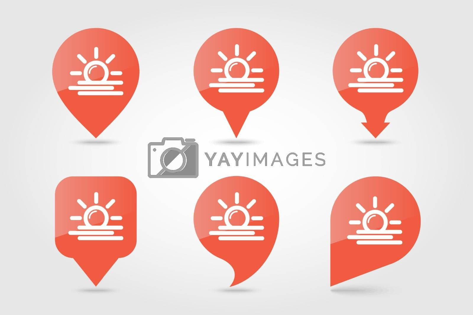 Sun Heat outline pin map icon. Map pointer. Map markers. Meteorology. Weather. Vector illustration eps 10