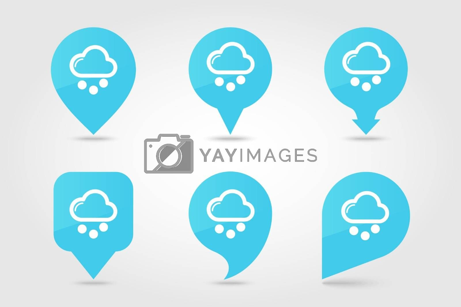 Cloud with Snow Grain outline pin map icon. Map pointer. Map markers. Meteorology. Weather. Vector illustration eps 10