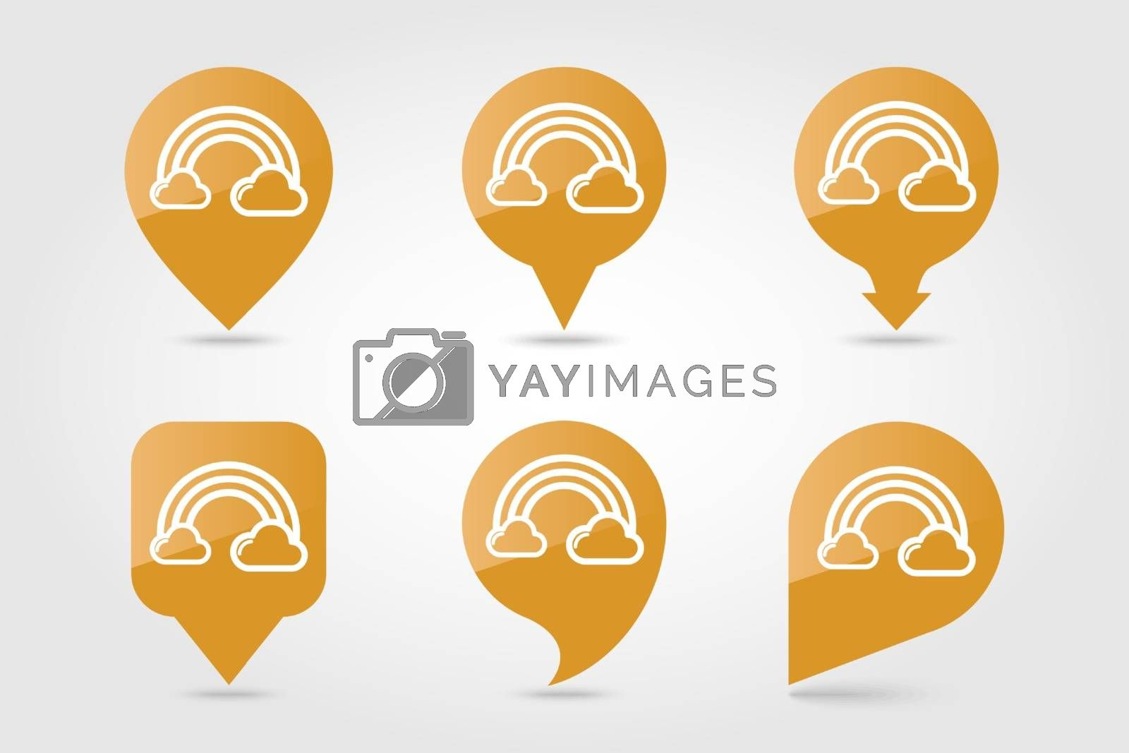 Rainbow in cloud outline pin map icon. Map pointer. Map markers. Meteorology. Weather. Vector illustration eps 10
