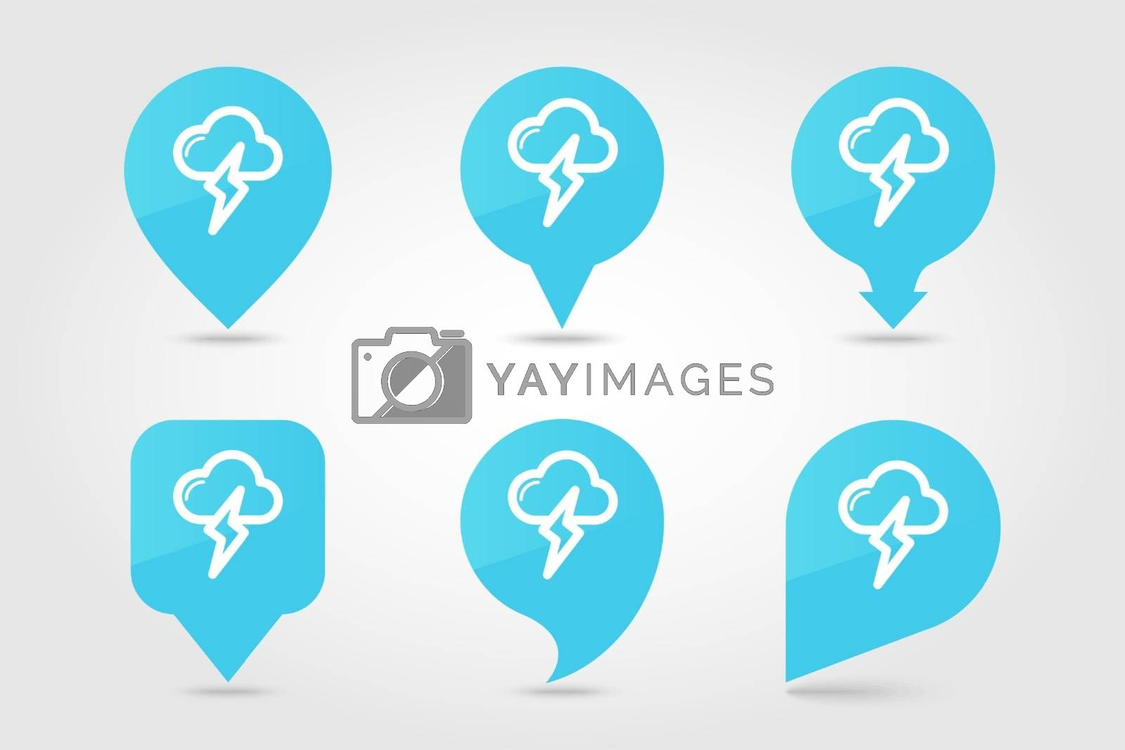 Cloud Lightning outline pin map icon. Map pointer. Map markers. Meteorology. Weather. Vector illustration eps 10