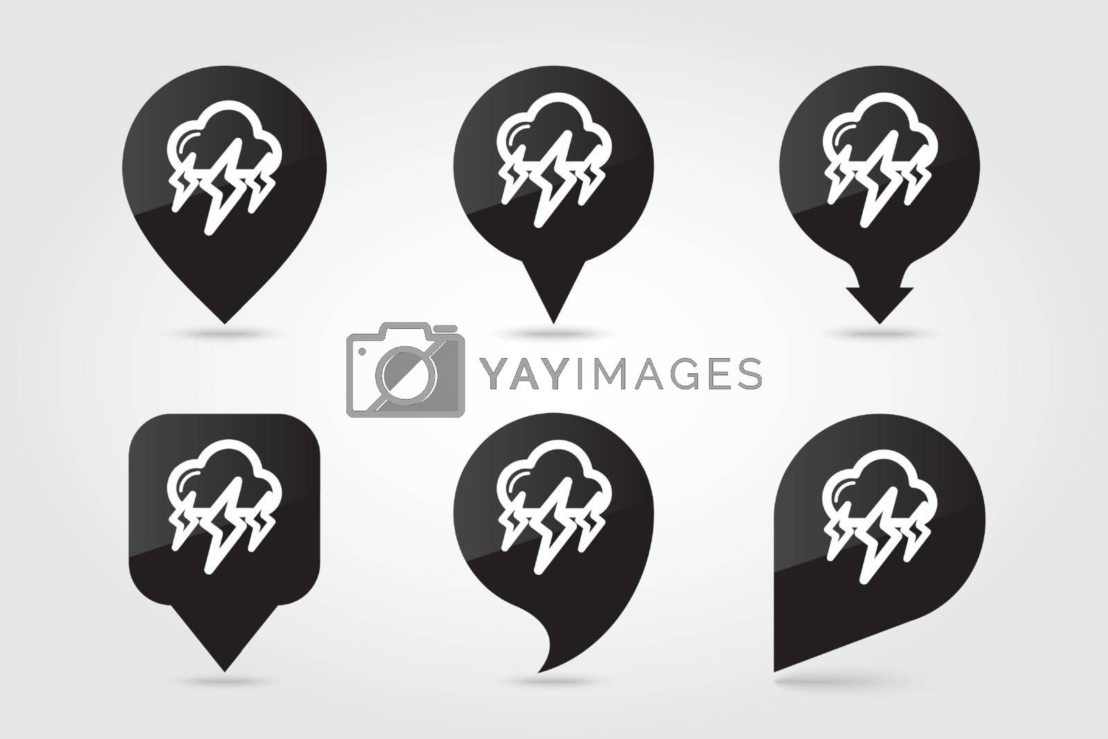 Storm Cloud Lightning outline pin map icon. Map pointer. Map markers. Meteorology. Weather. Vector illustration eps 10
