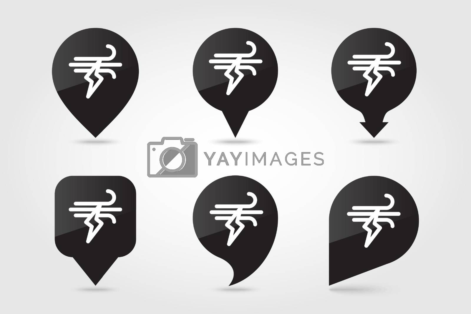 Wind Lightning outline pin map icon. Map pointer. Map markers. Meteorology. Weather. Vector illustration eps 10