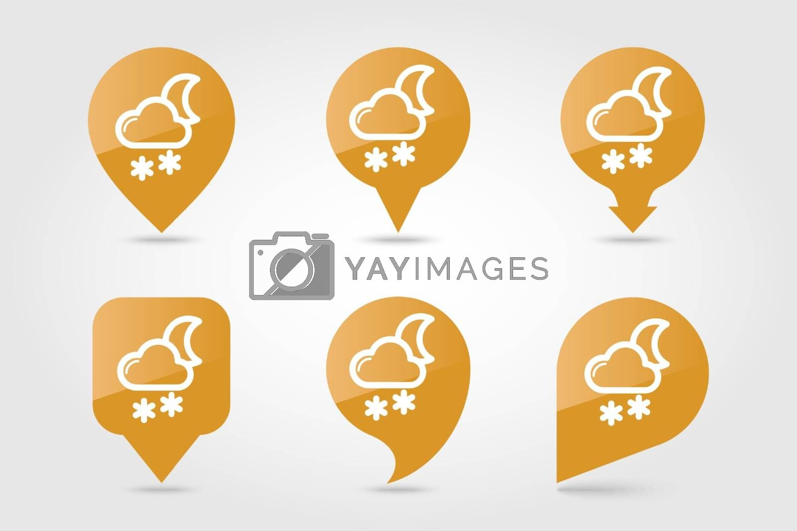 Cloud with Snow Moon outline pin map icon. Map pointer. Map markers. Sleep night dreams symbol. Meteorology. Weather. Vector illustration eps 10