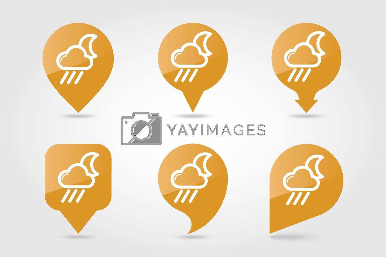Rain Cloud Moon outline pin map icon. Map pointer. Map markers. Sleep night dreams symbol. Meteorology. Weather. Vector illustration eps 10