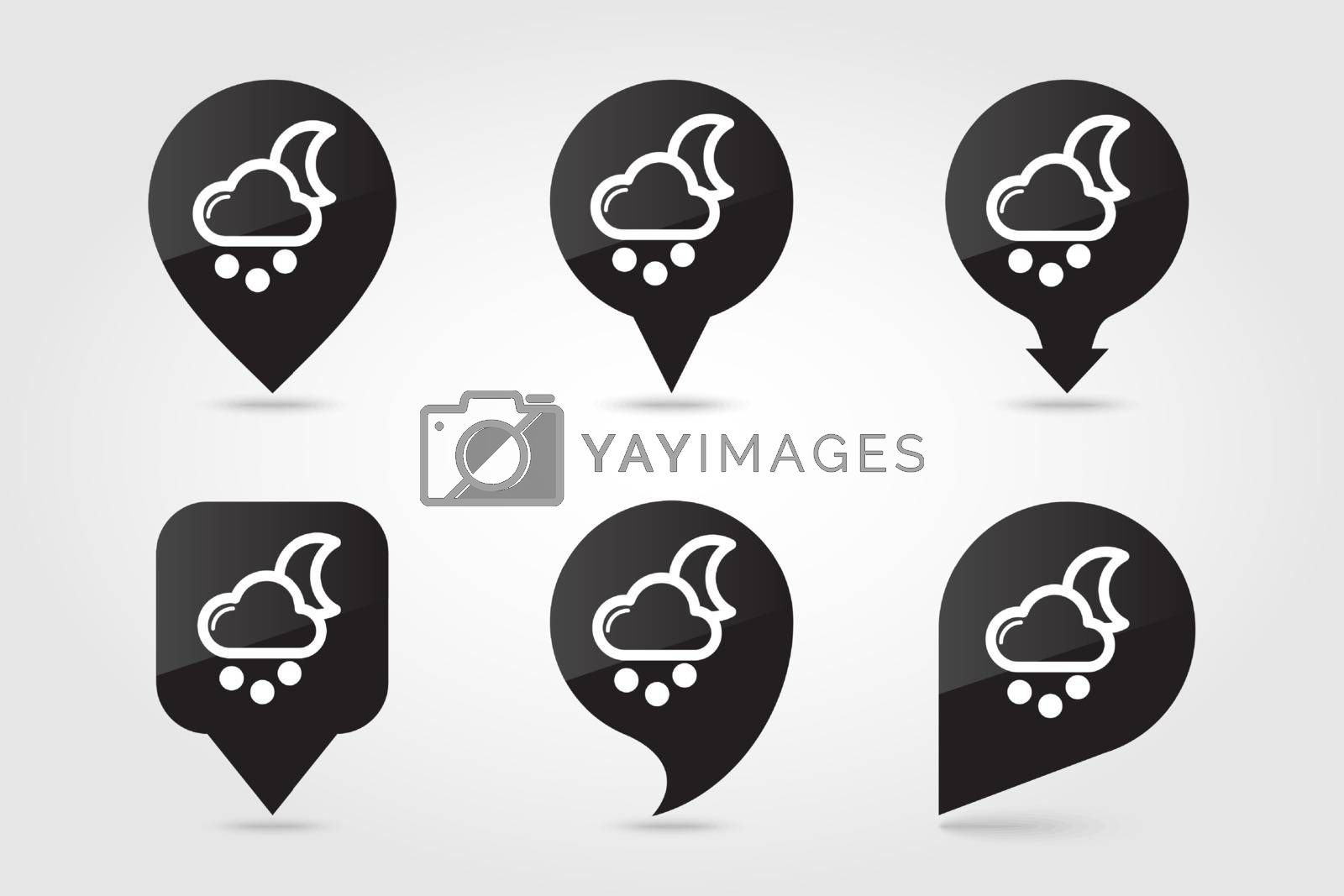Moon Cloud with Snow Grain outline pin map icon. Map pointer. Map markers. Sleep night dreams symbol. Meteorology. Weather. Vector illustration eps 10