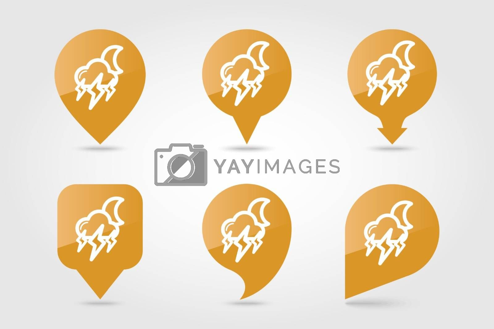 Moon Storm Cloud Lightning outline pin map icon. Map pointer. Map markers. Sleep night dreams symbol. Meteorology. Weather. Vector illustration eps 10