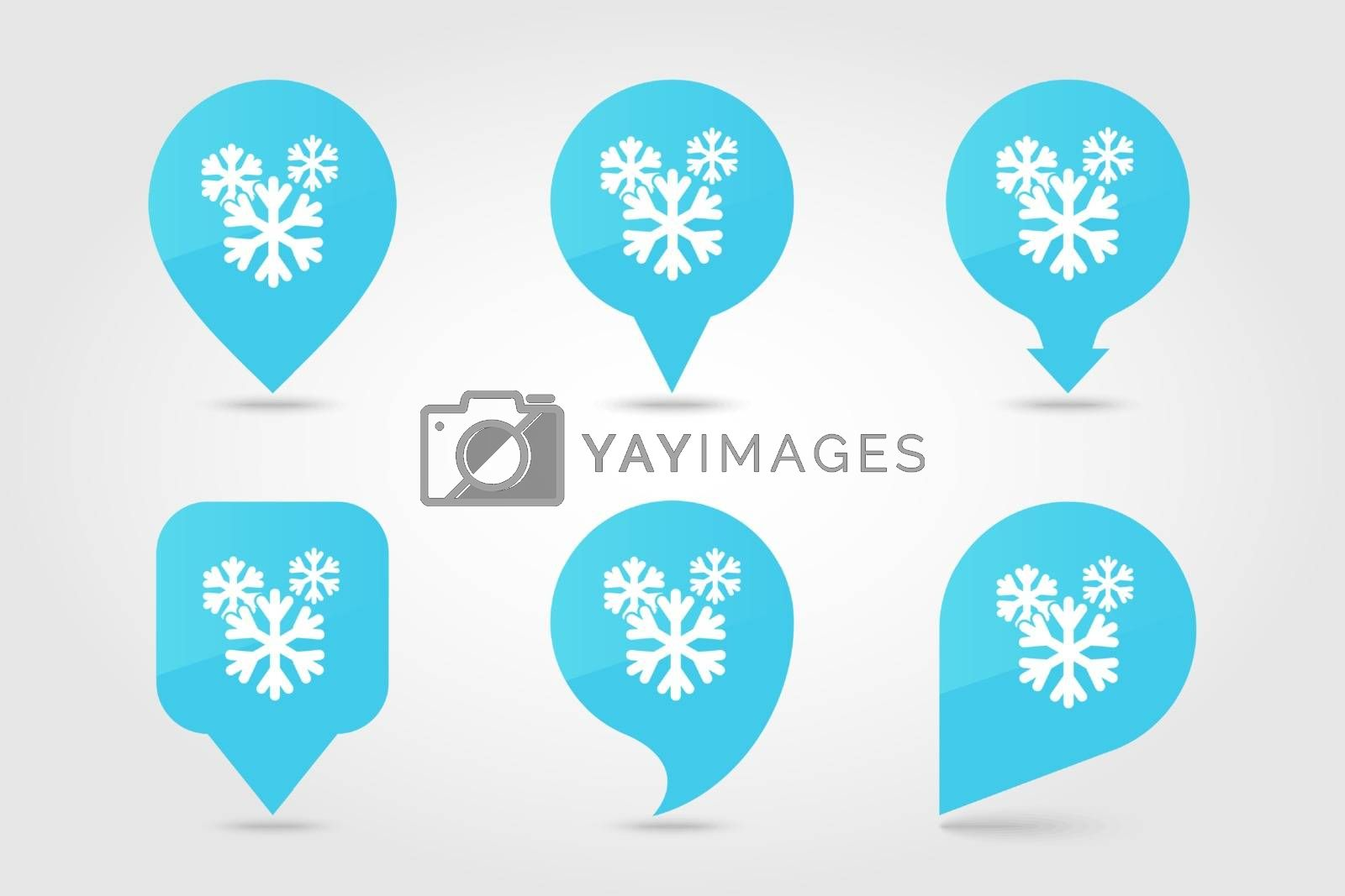 Snowflake Snow outline pin map icon. Map pointer. Map markers. Meteorology. Weather. Vector illustration eps 10