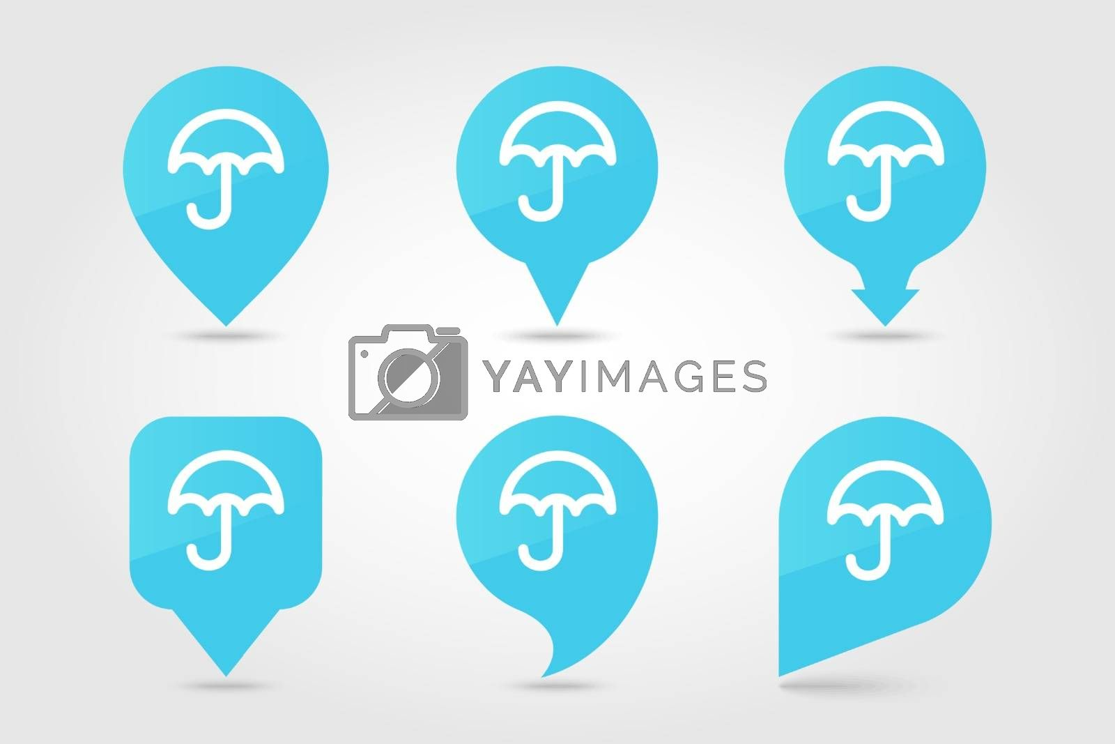 Umbrella Rain outline pin map icon. Map pointer. Map markers. Meteorology. Weather. Vector illustration eps 10