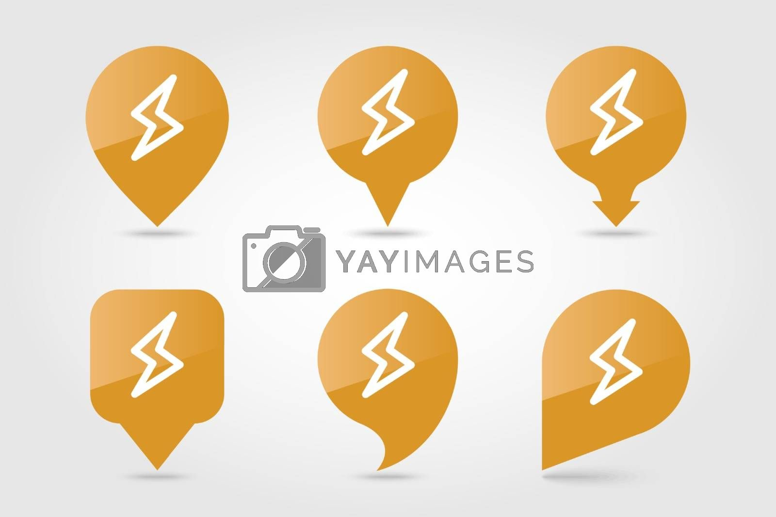 Lightning outline pin map icon. Map pointer. Map markers. Meteorology. Weather. Vector illustration eps 10
